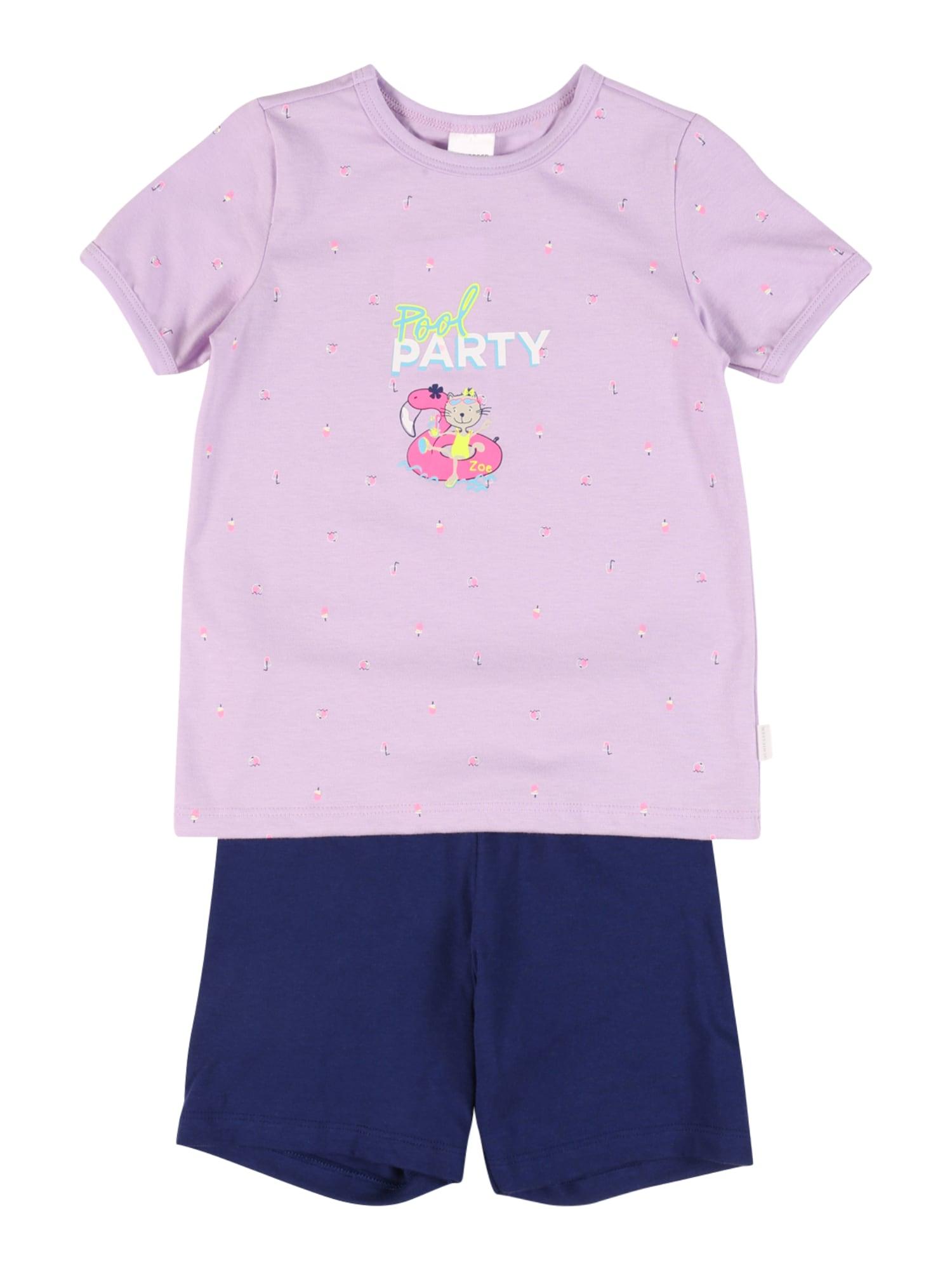 SCHIESSER Miego kostiumas alyvinė spalva / tamsiai mėlyna / rožinė / balta / kivių spalva