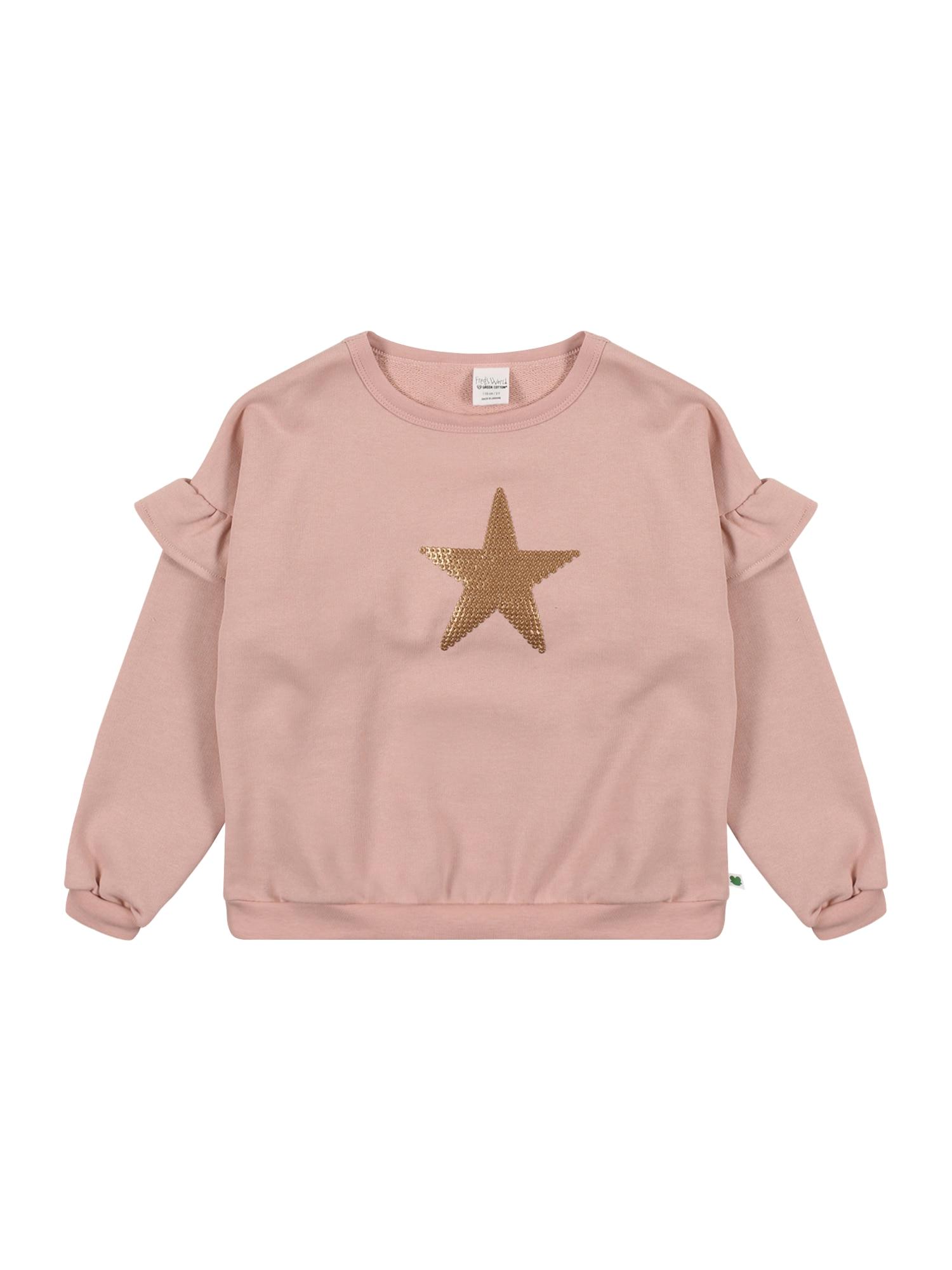 Fred's World by GREEN COTTON Megztinis be užsegimo 'Star' ryškiai rožinė spalva / auksas