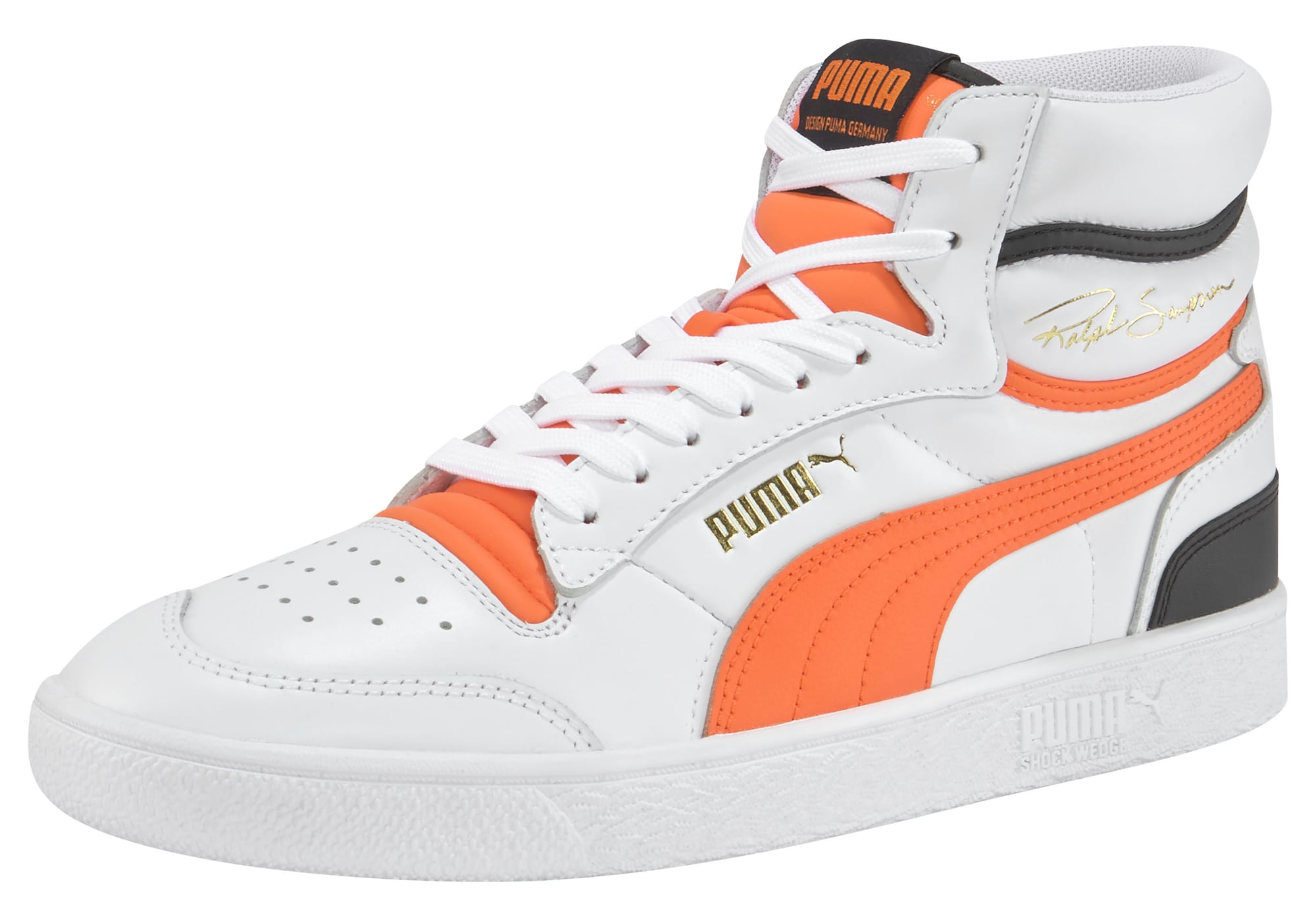 PUMA Sportbačiai su auliuku balta / oranžinė / juoda
