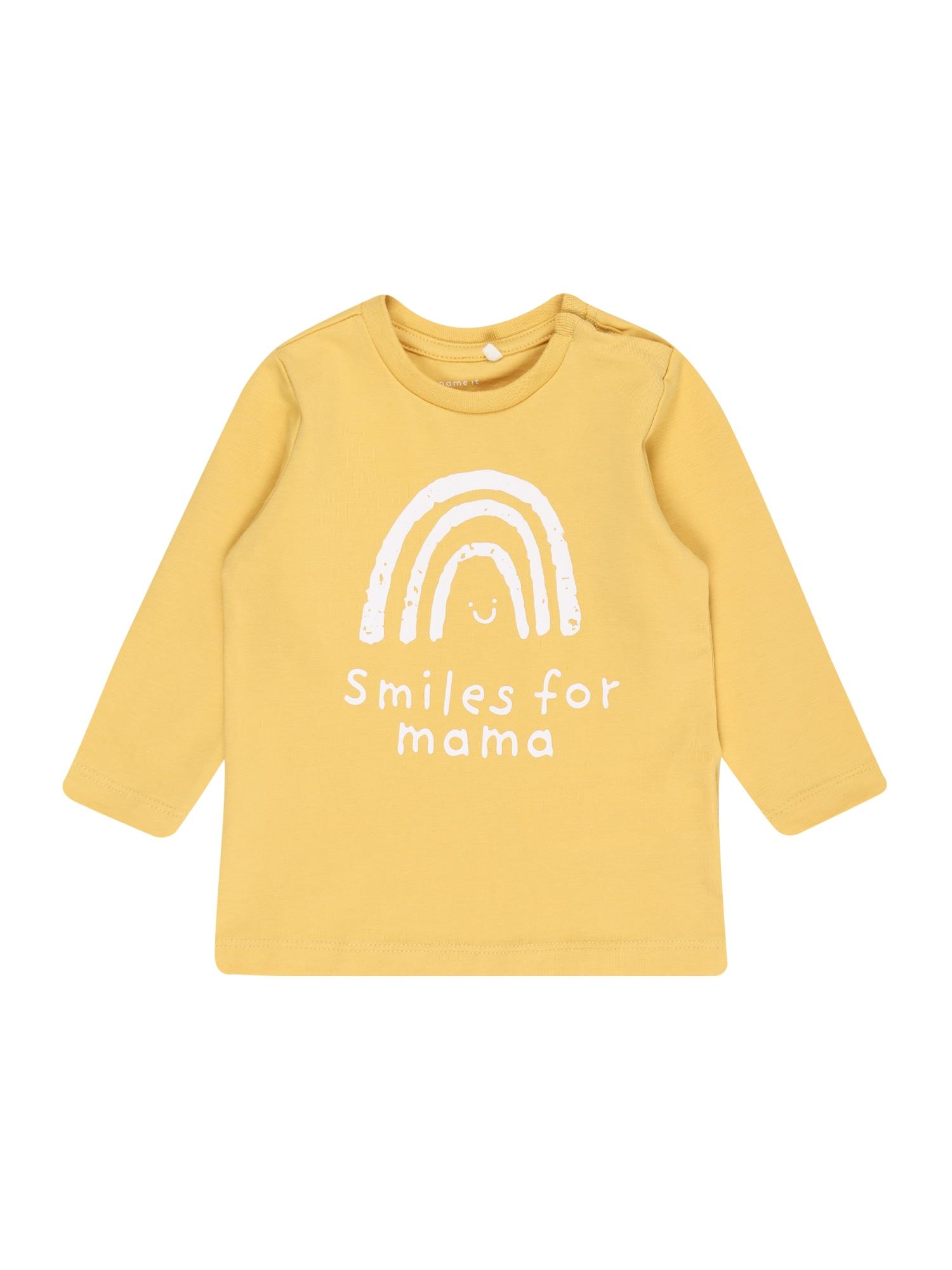NAME IT Marškinėliai 'Daniella' šafrano spalva / balta