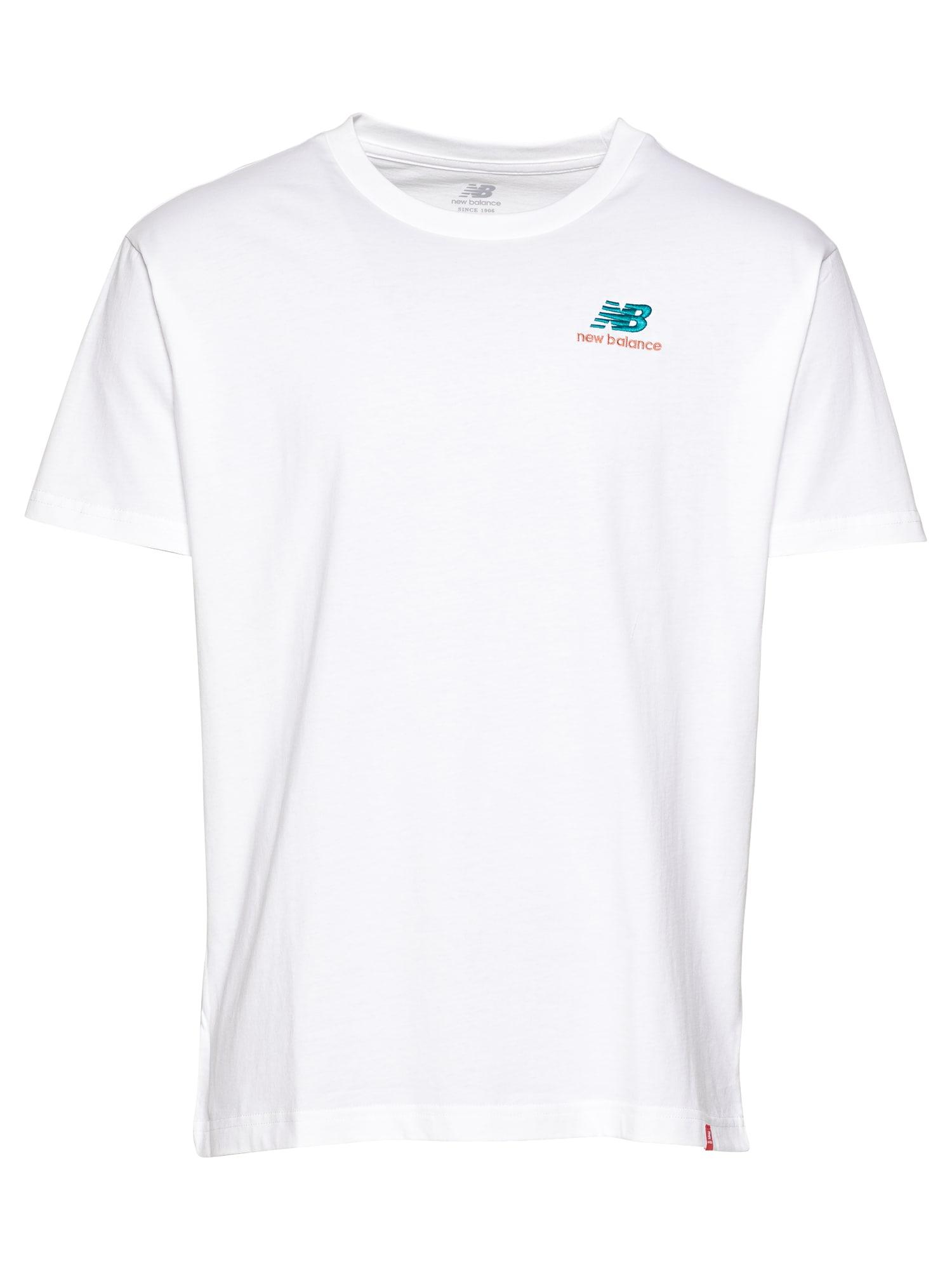 new balance Marškinėliai balta / turkio spalva / pastelinė raudona