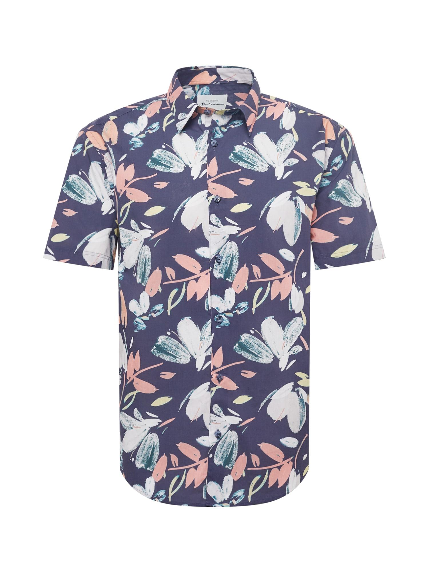Ben Sherman Marškiniai tamsiai mėlyna / rožių spalva / balta