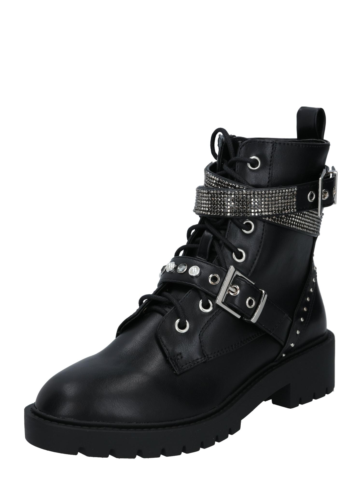 NEW LOOK Suvarstomieji kulkšnis dengiantys batai juoda