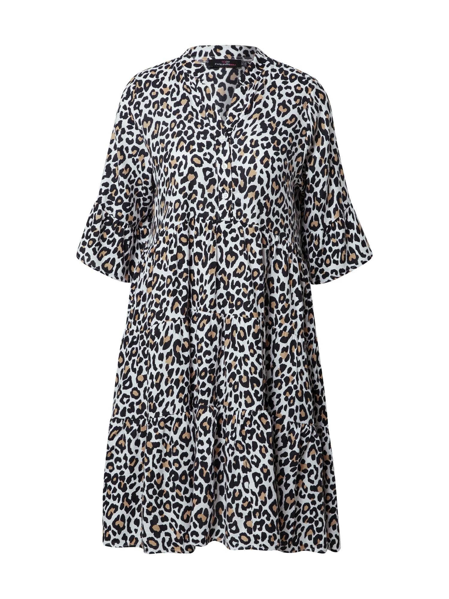 Zwillingsherz Košilové šaty 'Maja'  béžová / černá / bílá