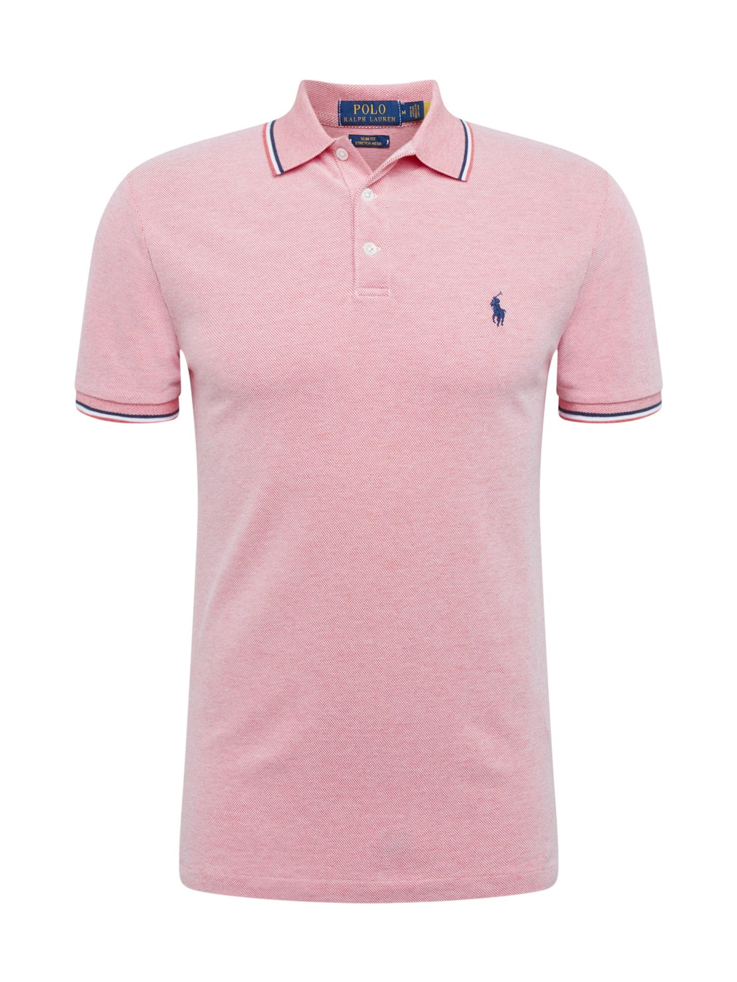 POLO RALPH LAUREN Marškinėliai tamsiai mėlyna / balta / šviesiai rožinė
