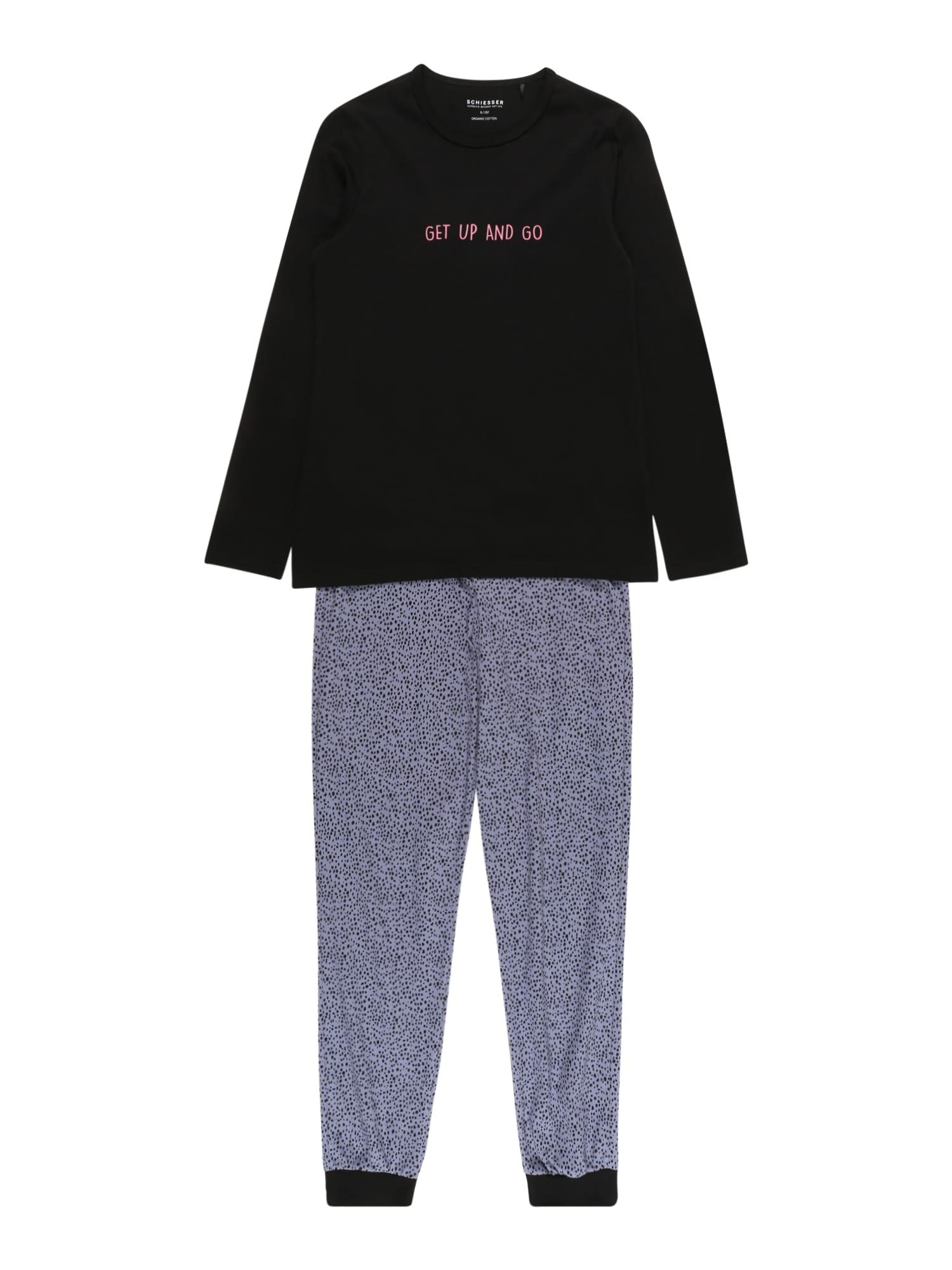 SCHIESSER Miego kostiumas juoda / pilka / rožinė