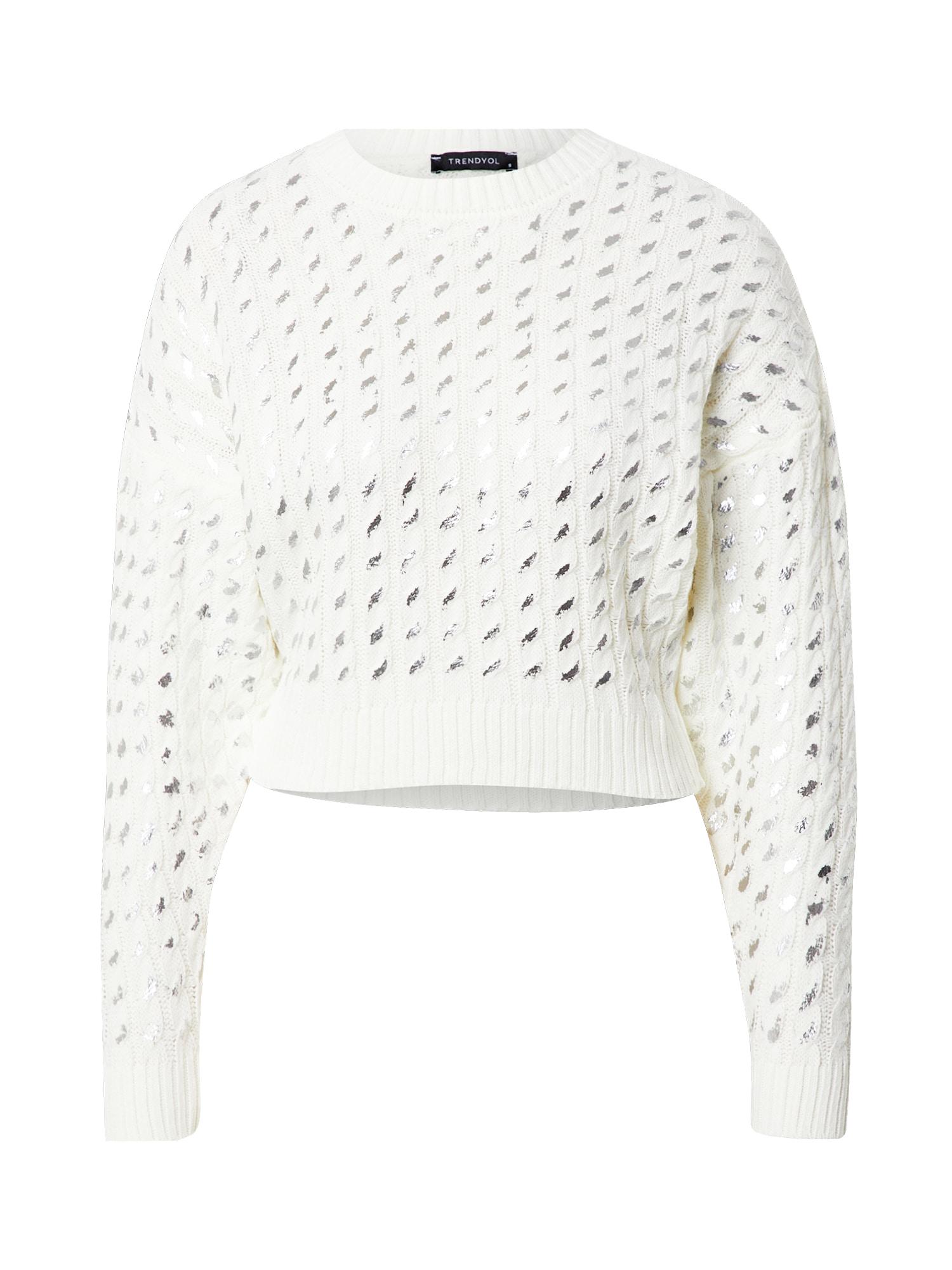 Trendyol Megztinis balta / sidabrinė