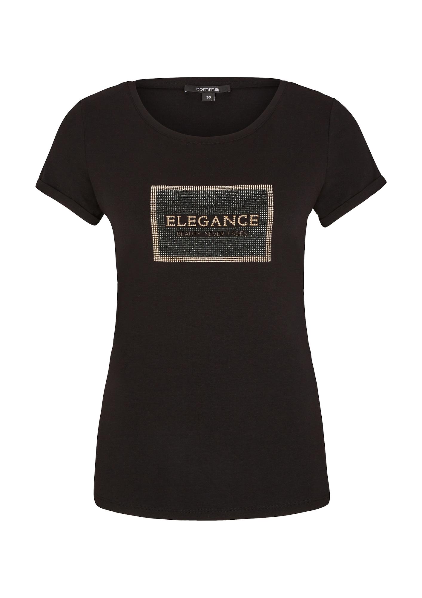 COMMA Marškinėliai juoda / auksas / smaragdinė spalva