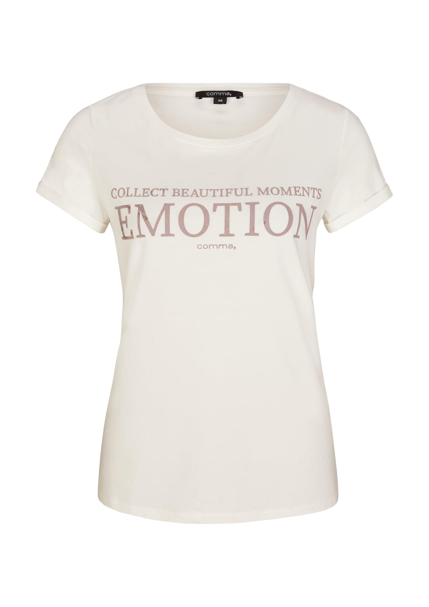 COMMA Marškinėliai natūrali balta / ryškiai rožinė spalva