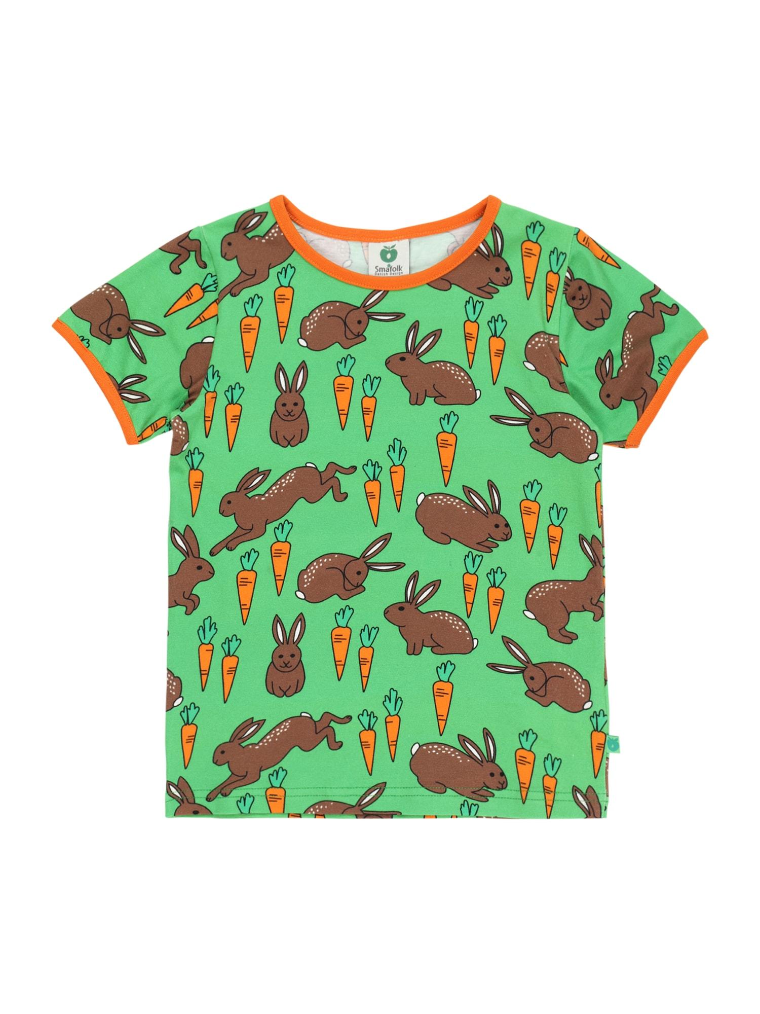 Småfolk Marškinėliai šviesiai žalia / šviesiai oranžinė / rusvai oranžinė / balta / juoda