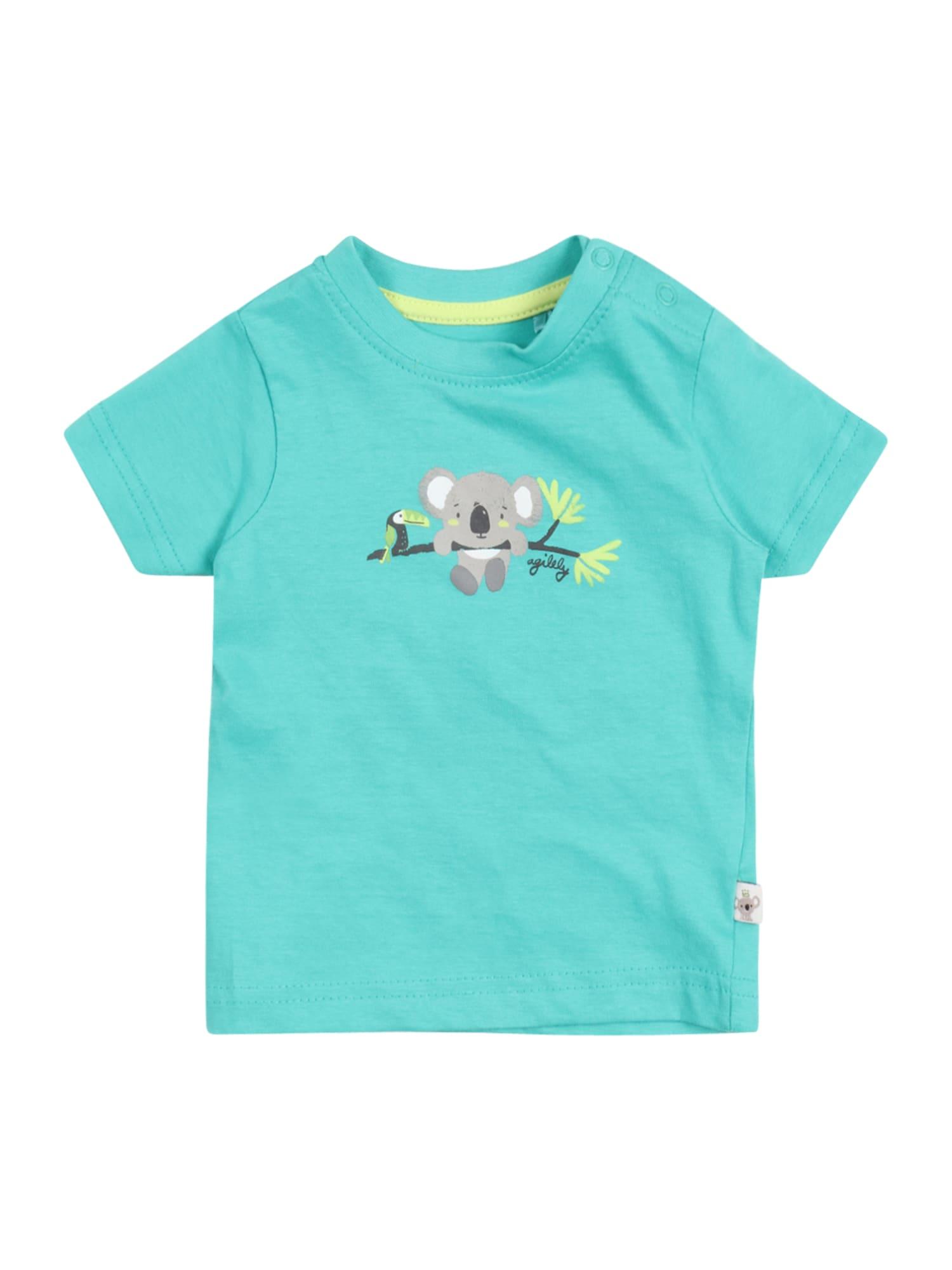 BLUE SEVEN Marškinėliai nefrito spalva / pilka / geltona / balta / juoda
