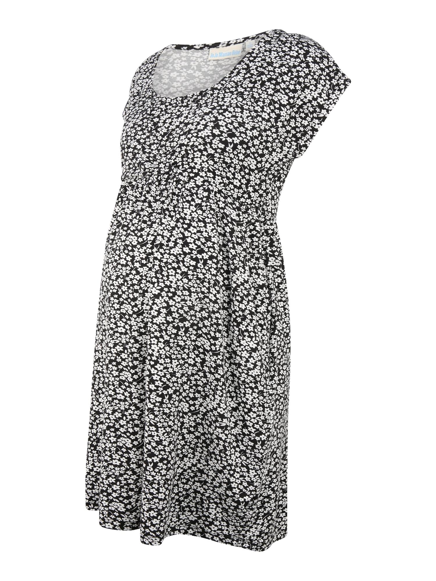 JoJo Maman Bébé Vasarinė suknelė juoda / balta