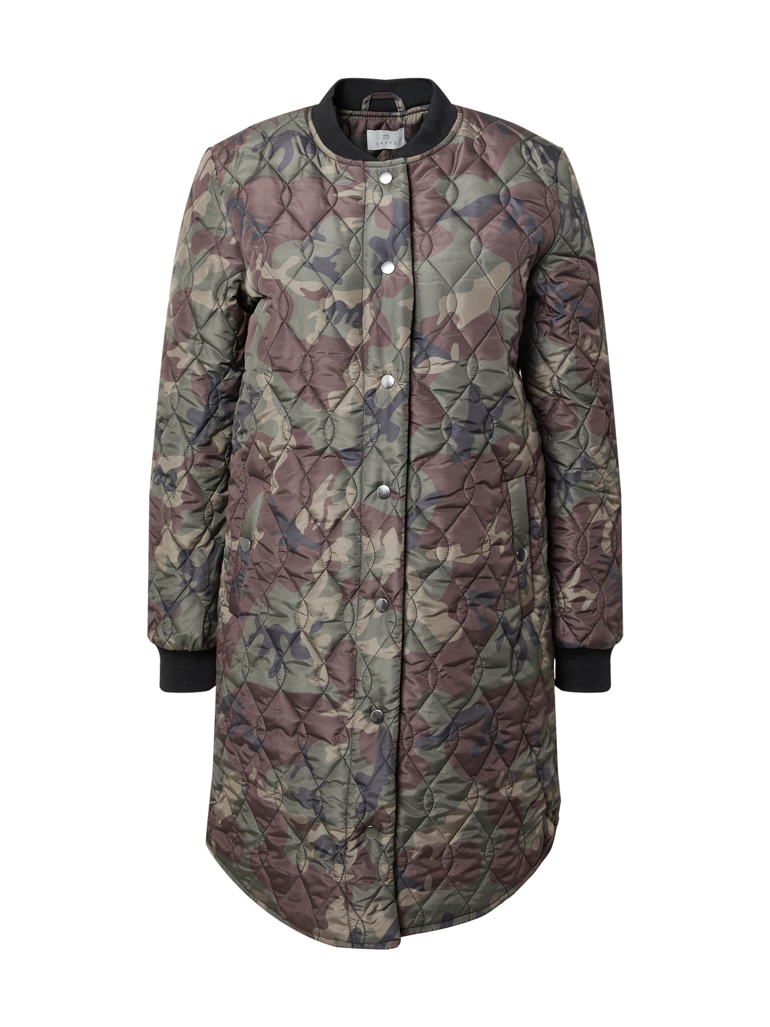 Kaffe Demisezoninis paltas rusvai žalia / alyvuogių spalva / ruda / juoda