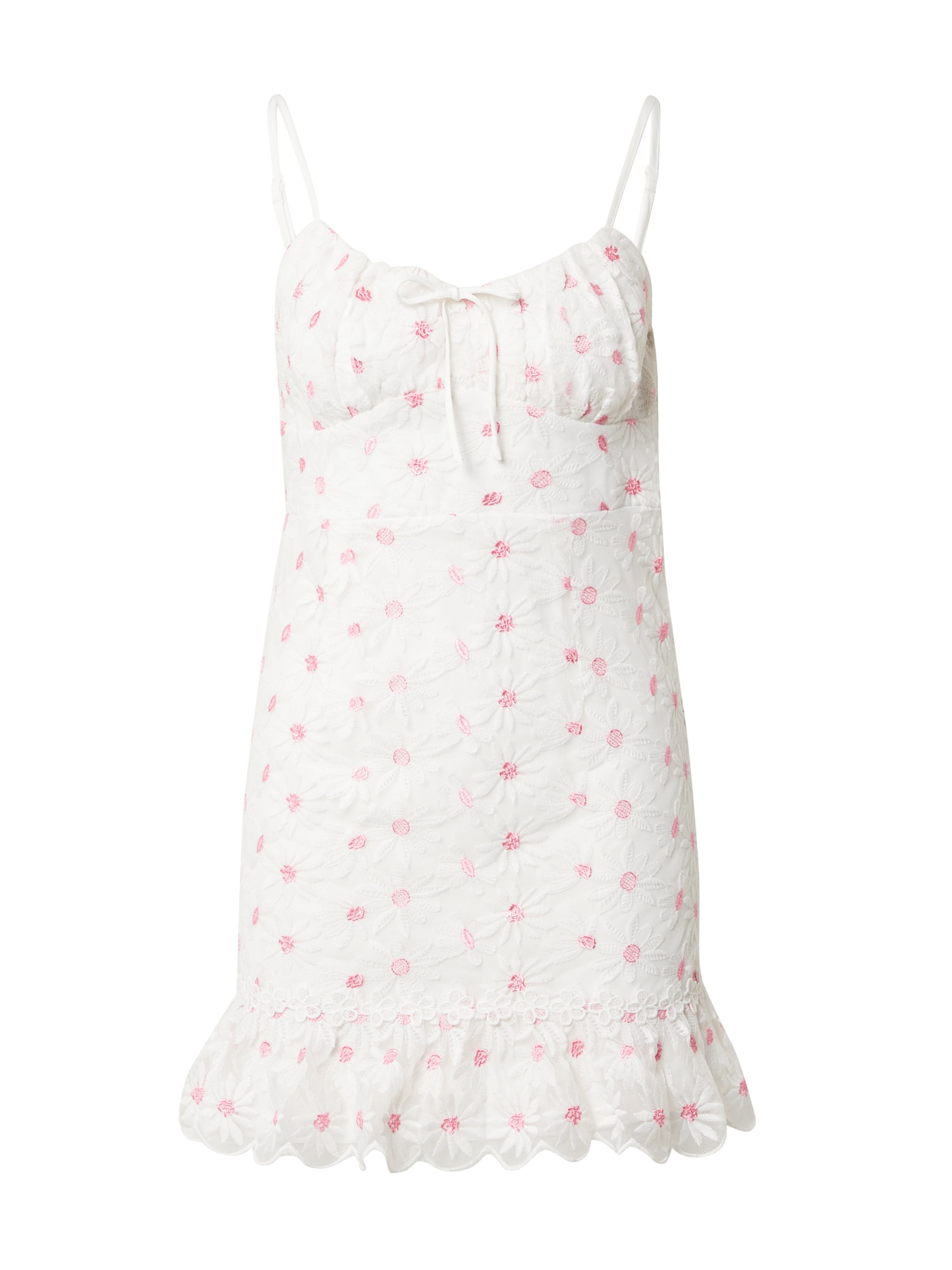 Love Triangle Vasarinė suknelė 'SUNSHINE' balta / rožinė