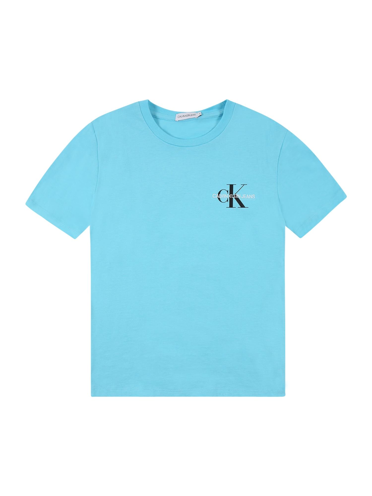 Calvin Klein Jeans Marškinėliai šviesiai mėlyna / juoda / balta