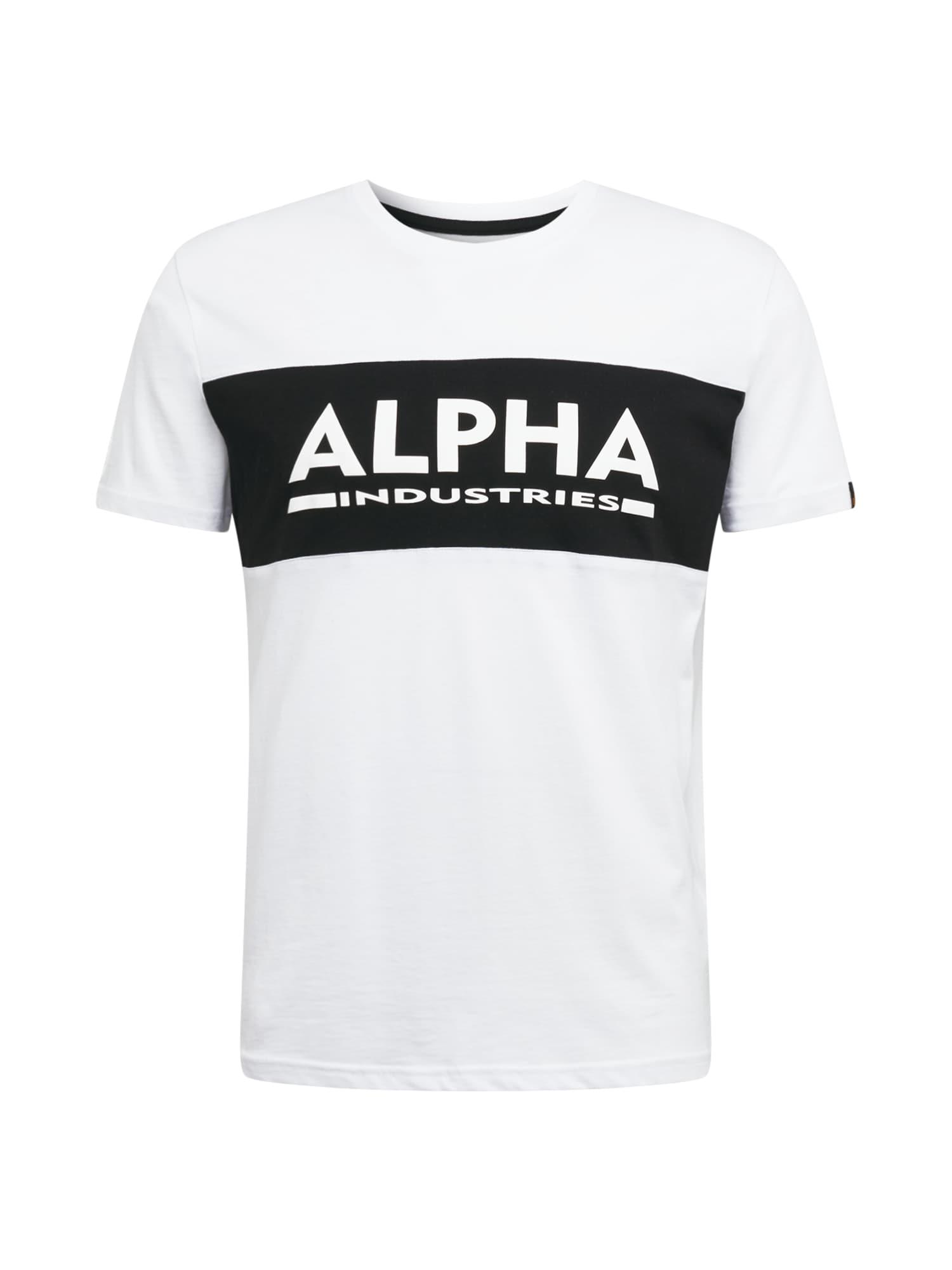 ALPHA INDUSTRIES Marškinėliai 'Inlay' juoda / balta