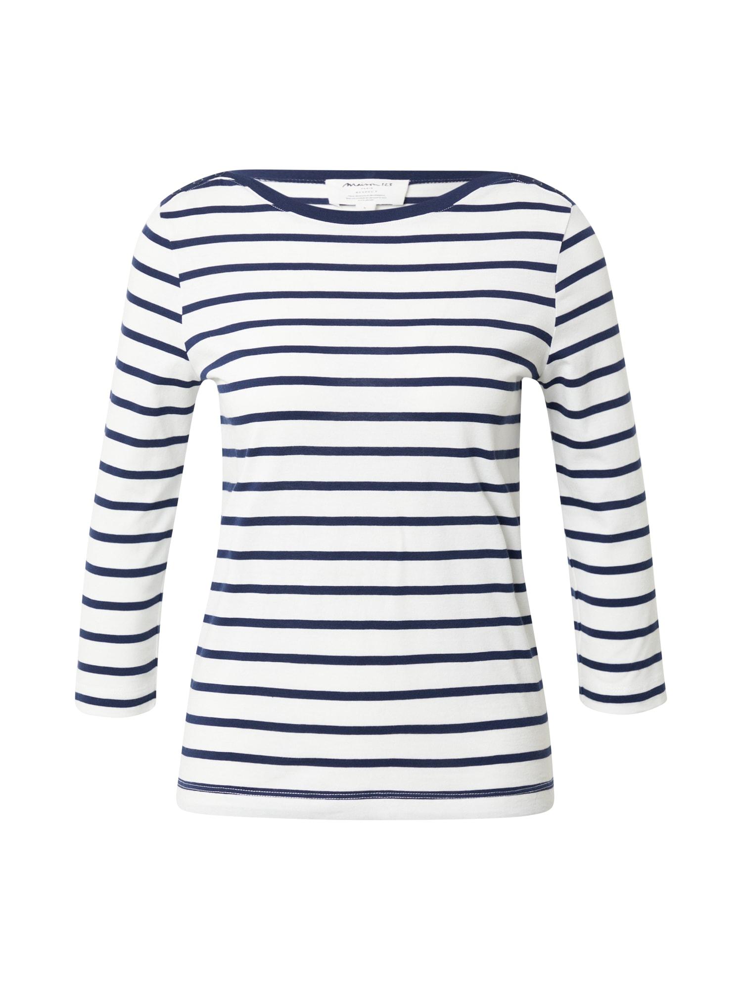 Maison 123 Marškinėliai nebalintos drobės spalva / tamsiai mėlyna
