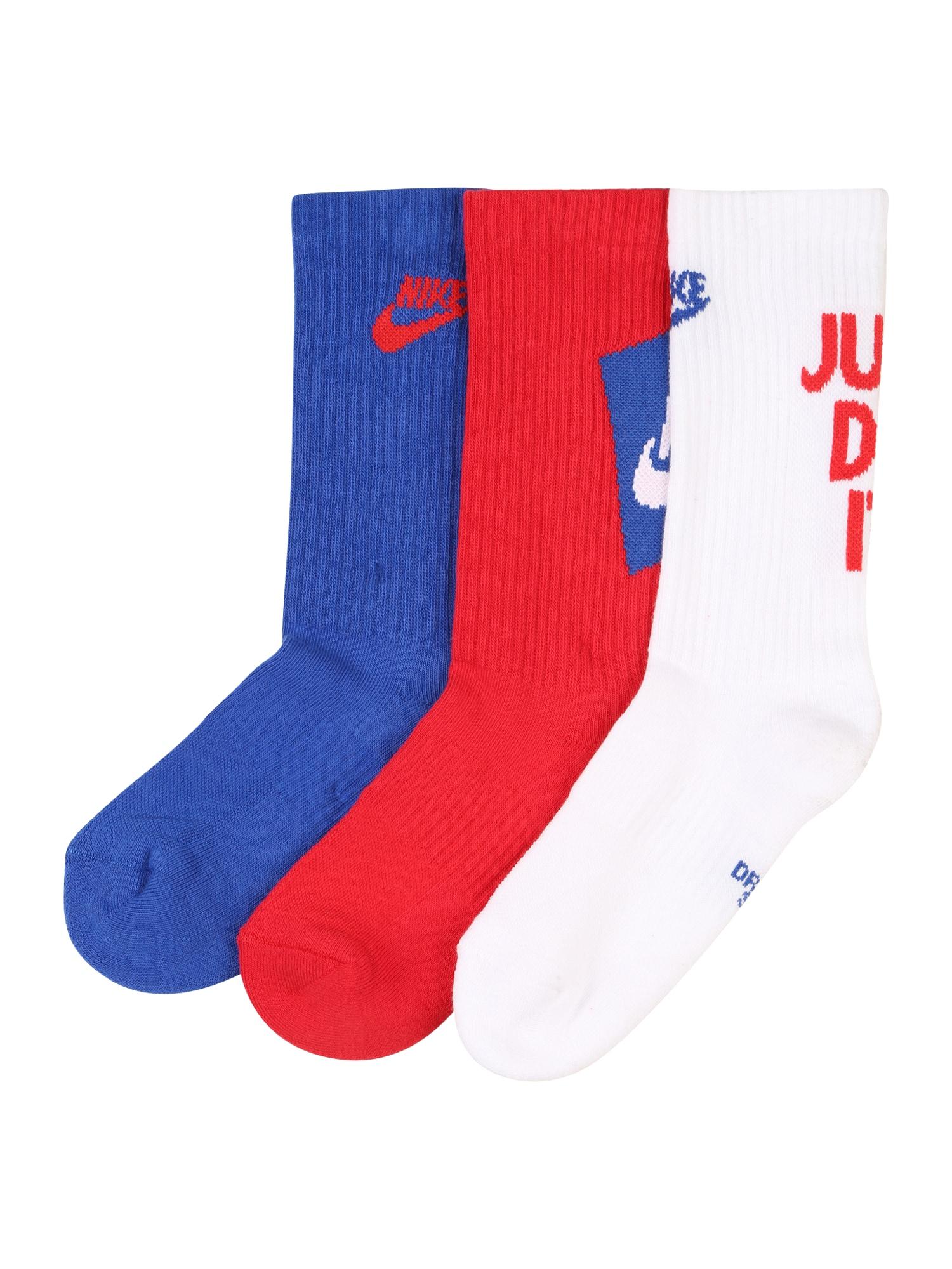 NIKE Sportinės kojinės mėlyna / raudona / balta