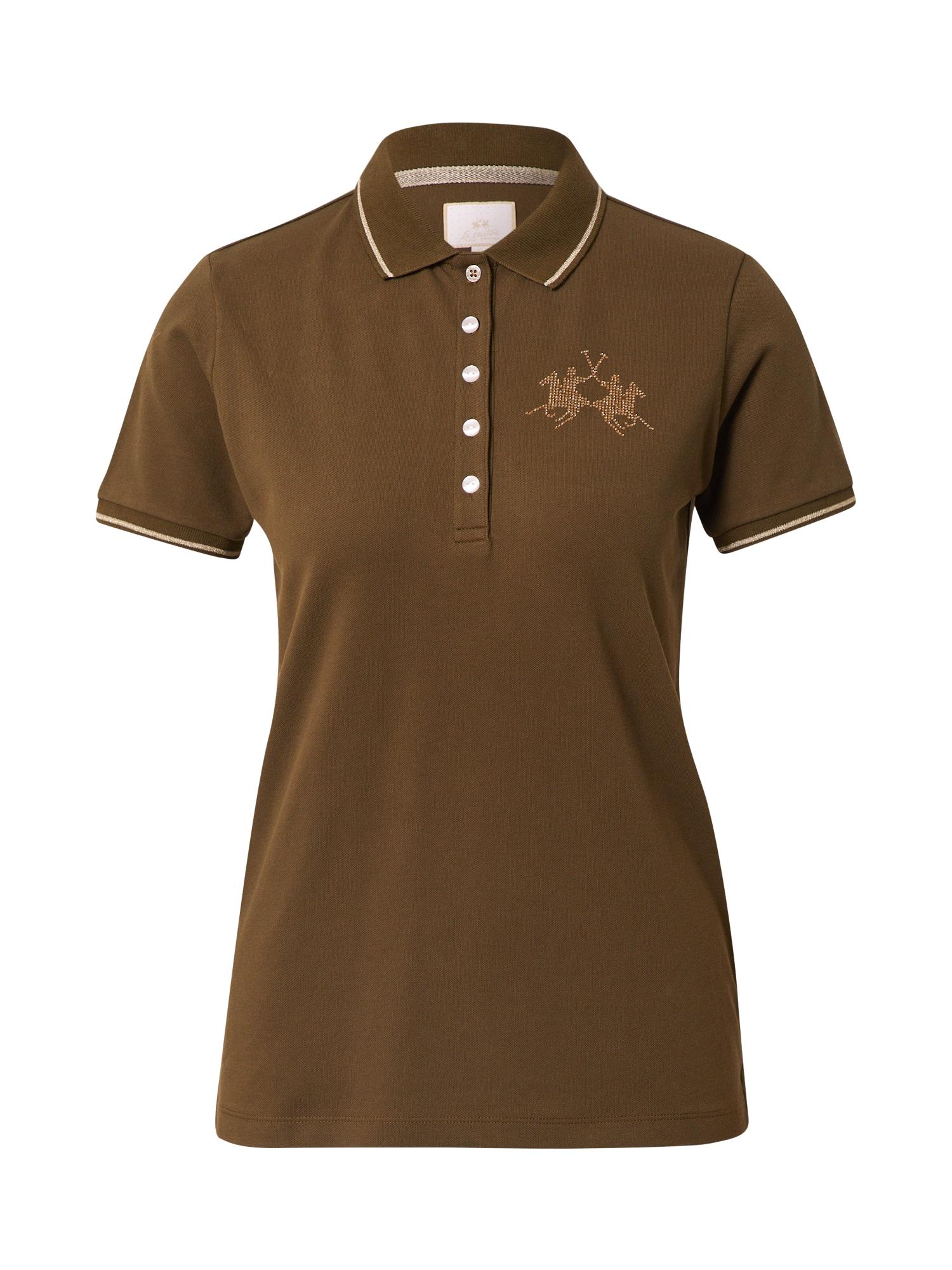 La Martina Marškinėliai alyvuogių spalva / balta / medaus spalva