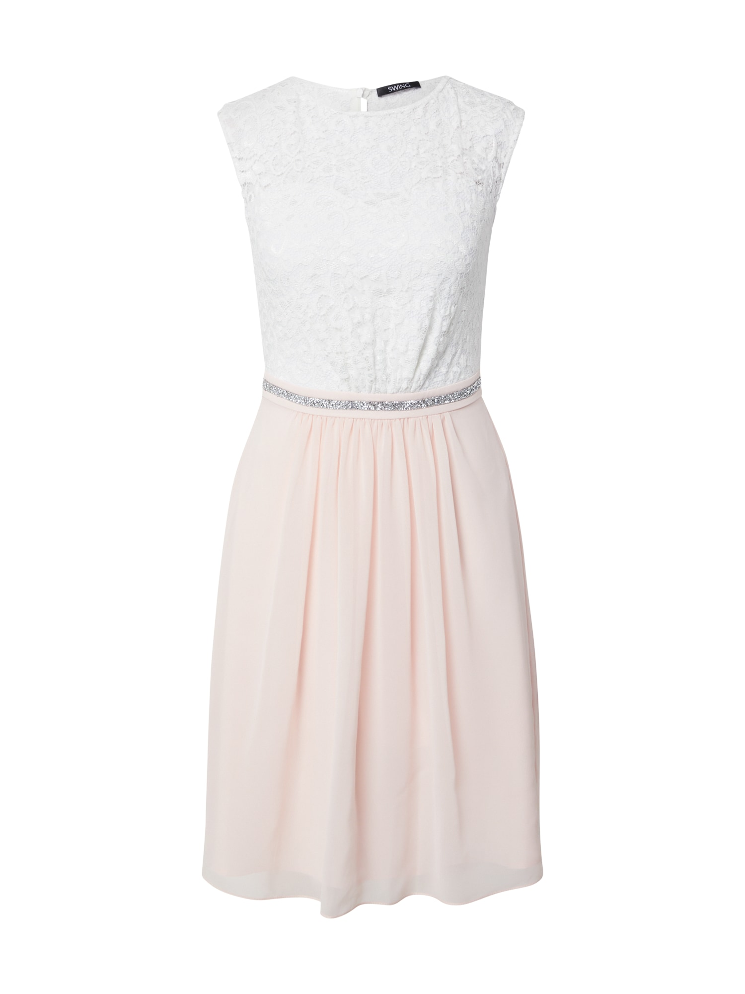 SWING Kokteilinė suknelė rožių spalva / balta