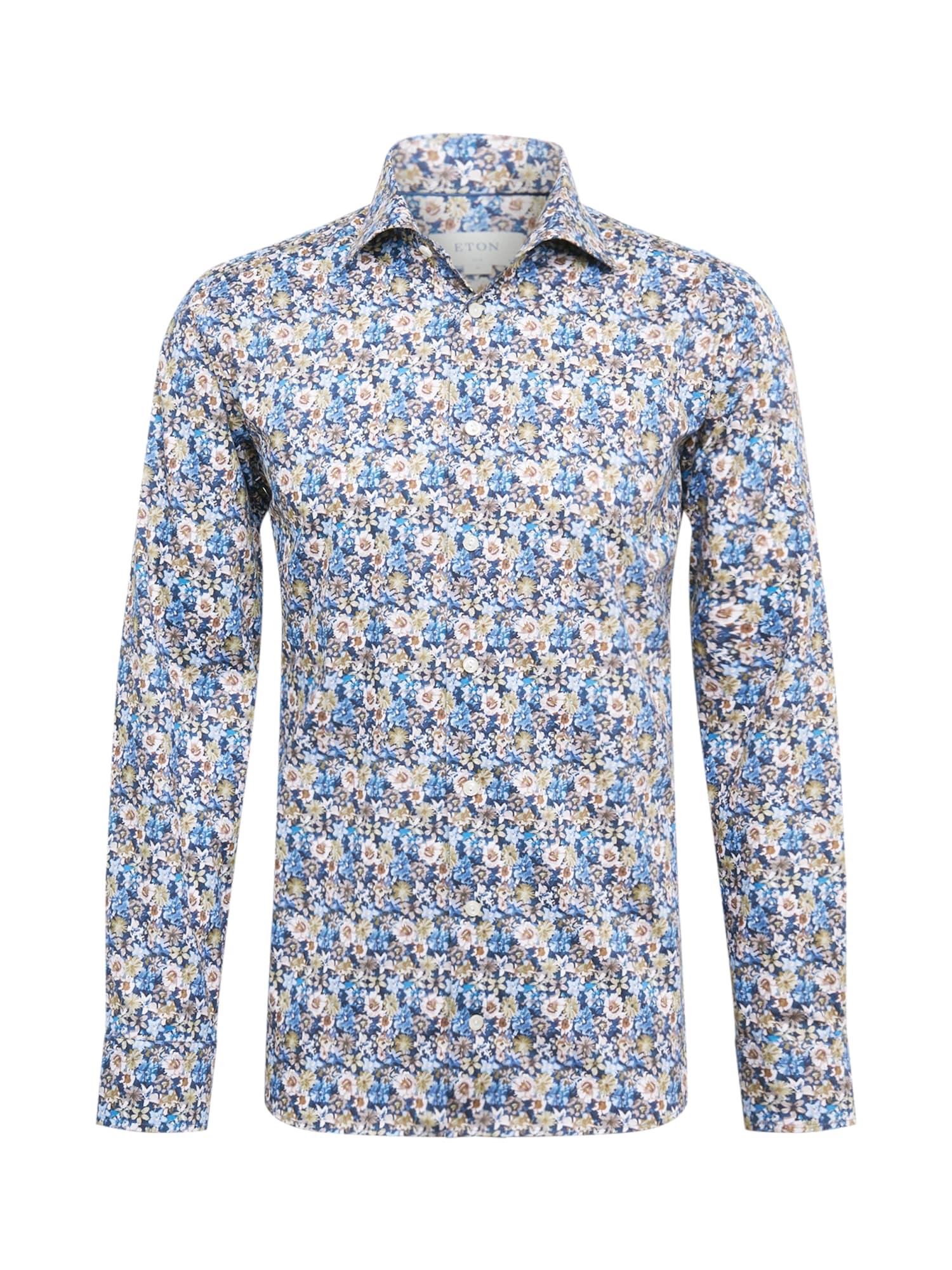 ETON Marškiniai mėlyna / smėlio / balta