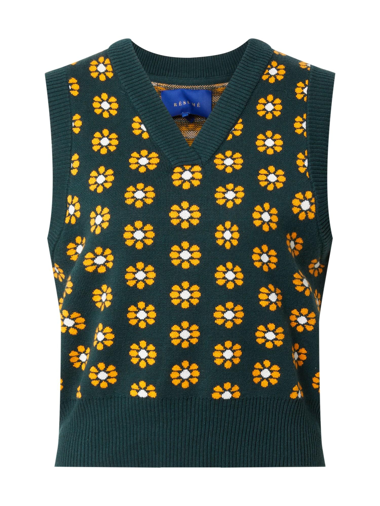 Résumé Megztinis smaragdinė spalva / geltona / balta