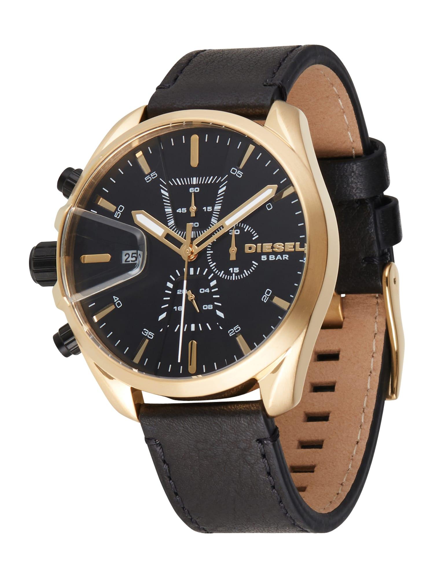 DIESEL Analoginis (įprasto dizaino) laikrodis juoda / auksas