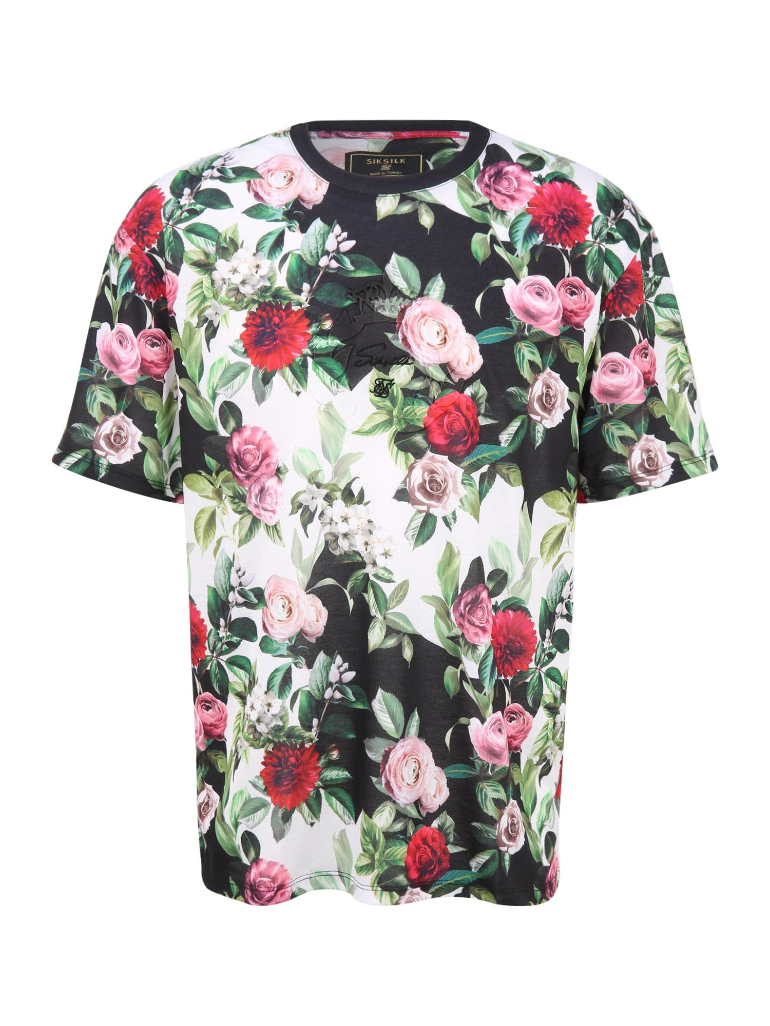 SikSilk Marškinėliai juoda / balta / mišrios spalvos