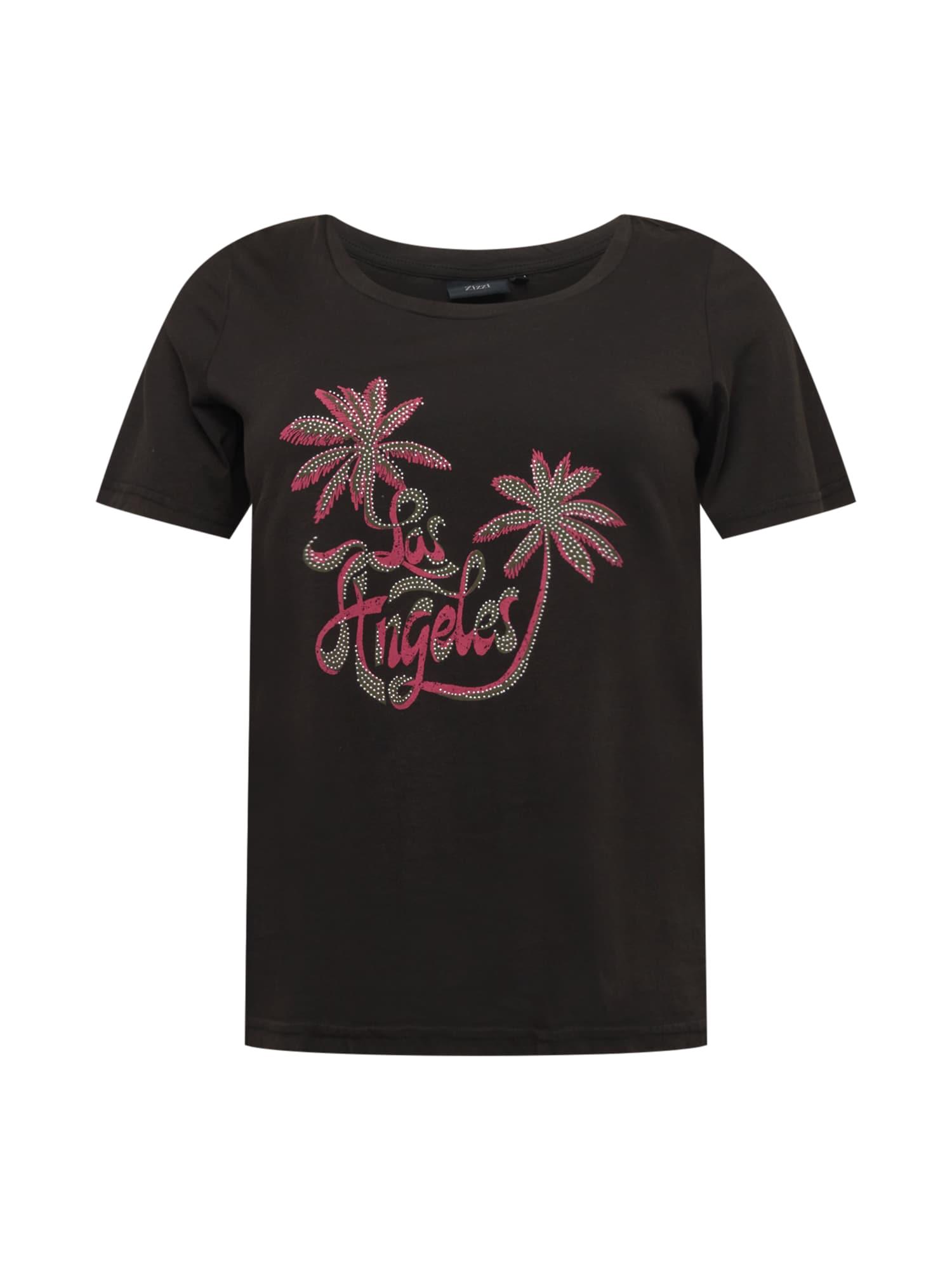 Zizzi Tričko 'MBREE'  černá / pink / khaki