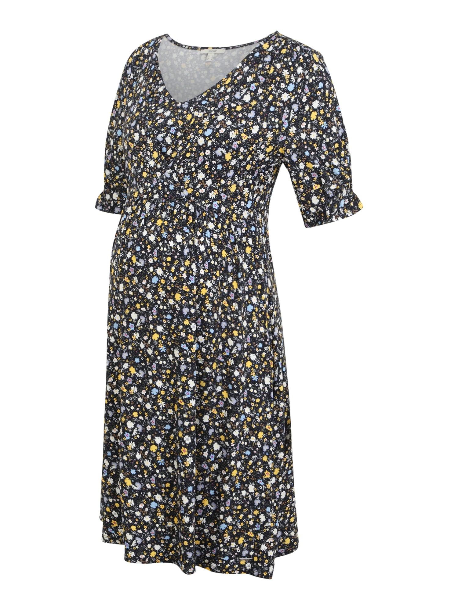 Esprit Maternity Suknelė geltona / balta / nakties mėlyna / šviesiai mėlyna / alyvuogių spalva