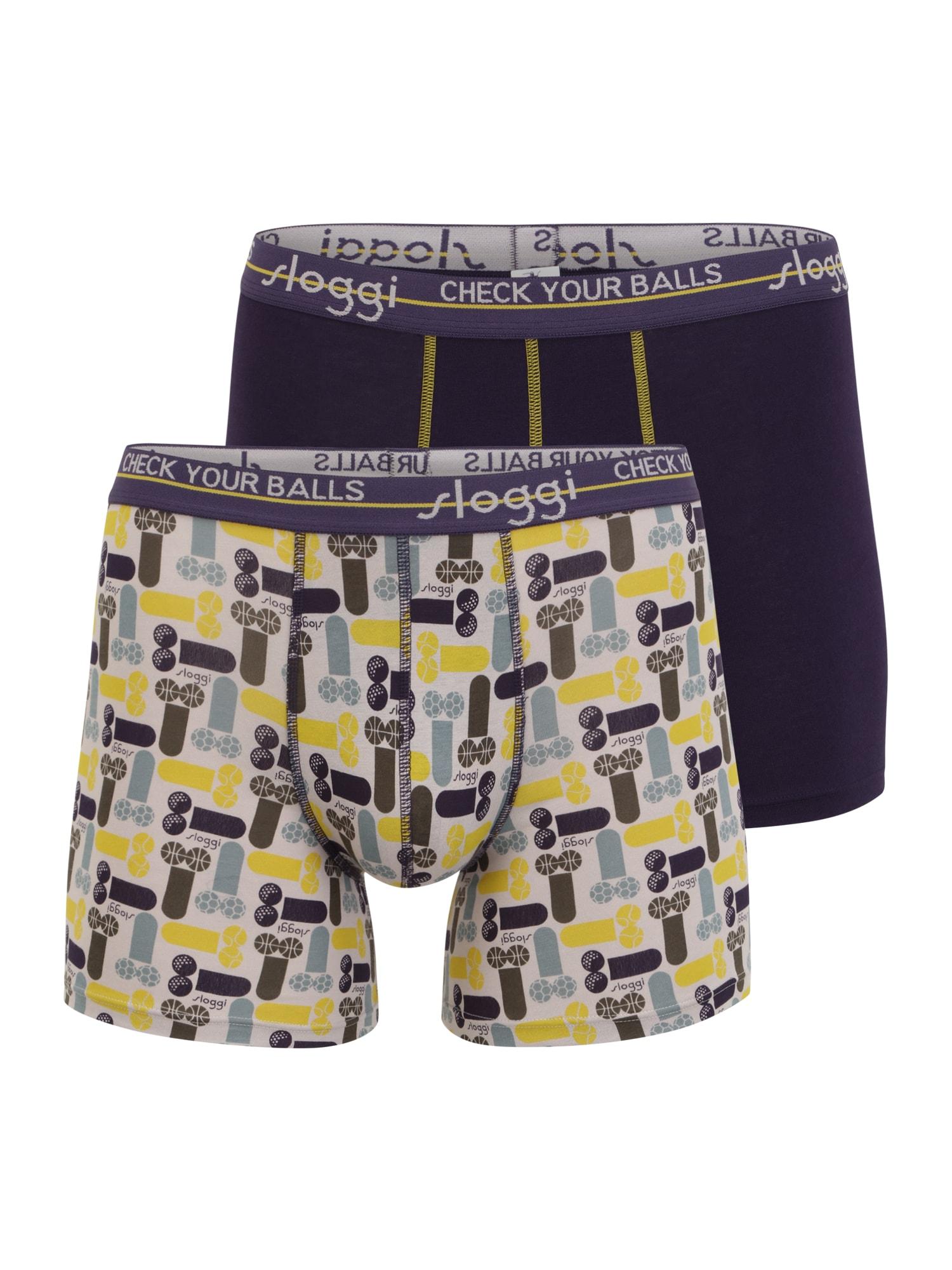 SLOGGI Boxer trumpikės slyvų spalva / balta / ruda / pastelinė mėlyna / geltona