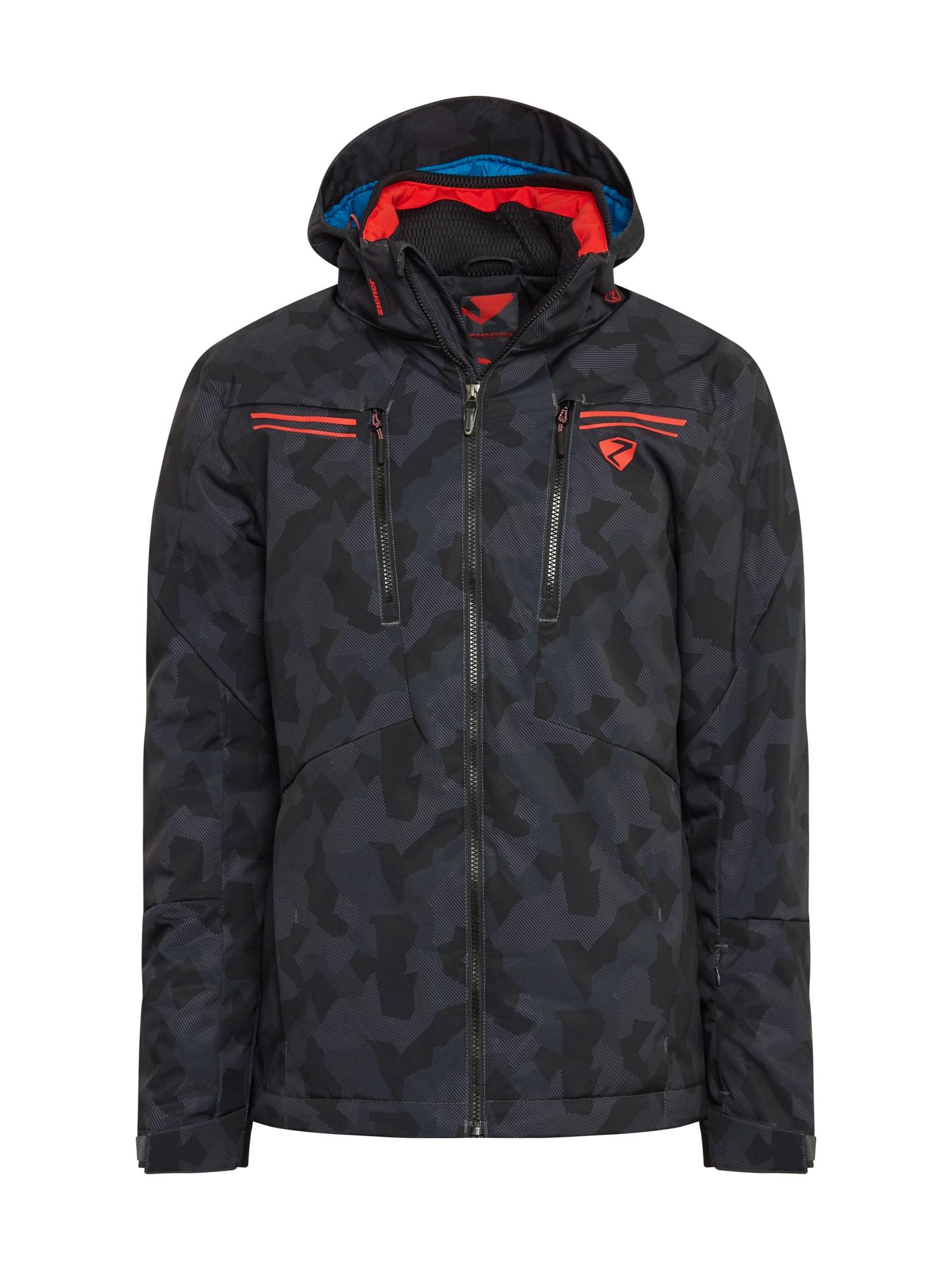 ZIENER Laisvalaikio striukė juoda / tamsiai pilka / tamsiai oranžinė