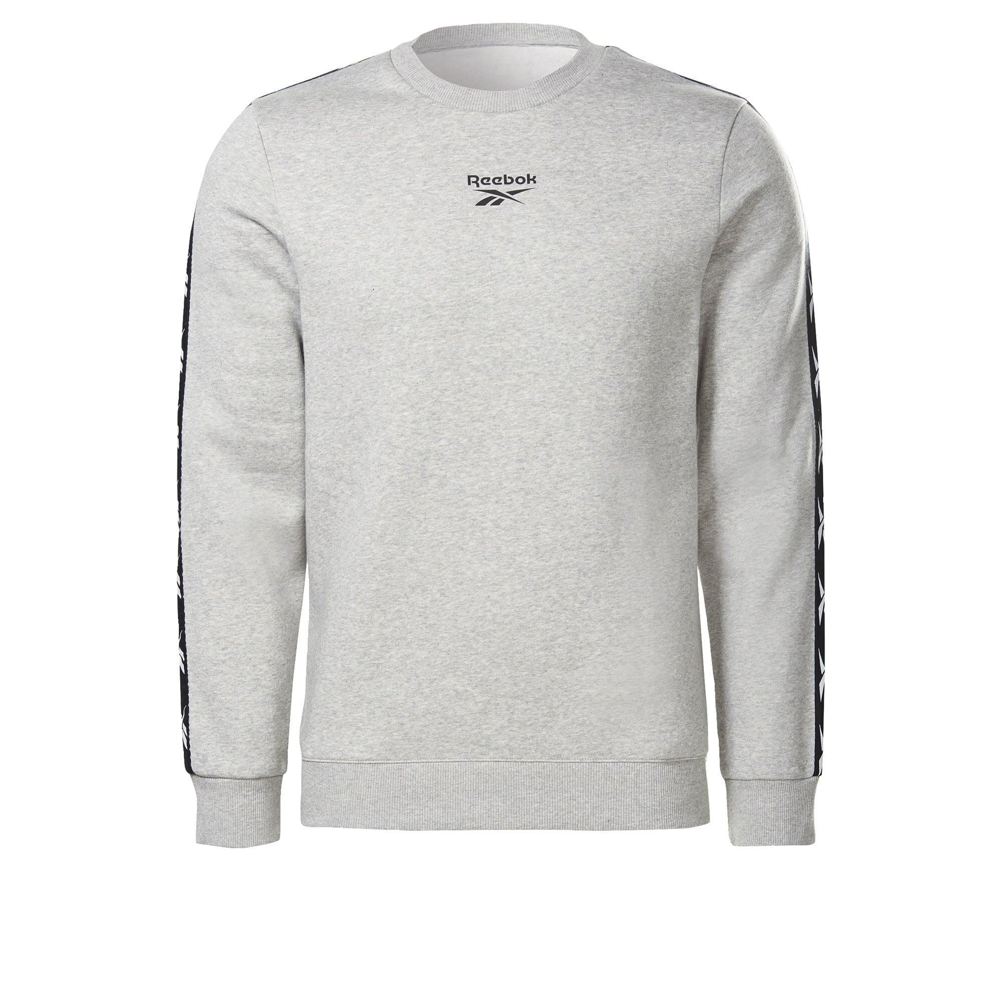 REEBOK Sportinio tipo megztinis juoda / balta / margai pilka