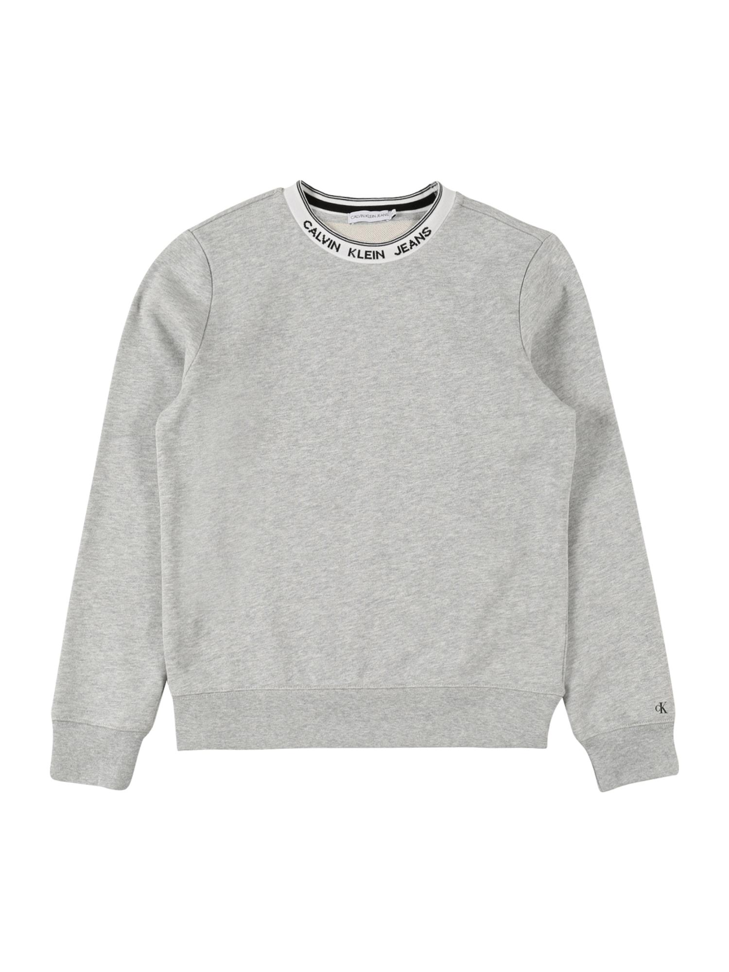 Calvin Klein Jeans Megztinis be užsegimo 'INTARSIA' pilka / balta / juoda