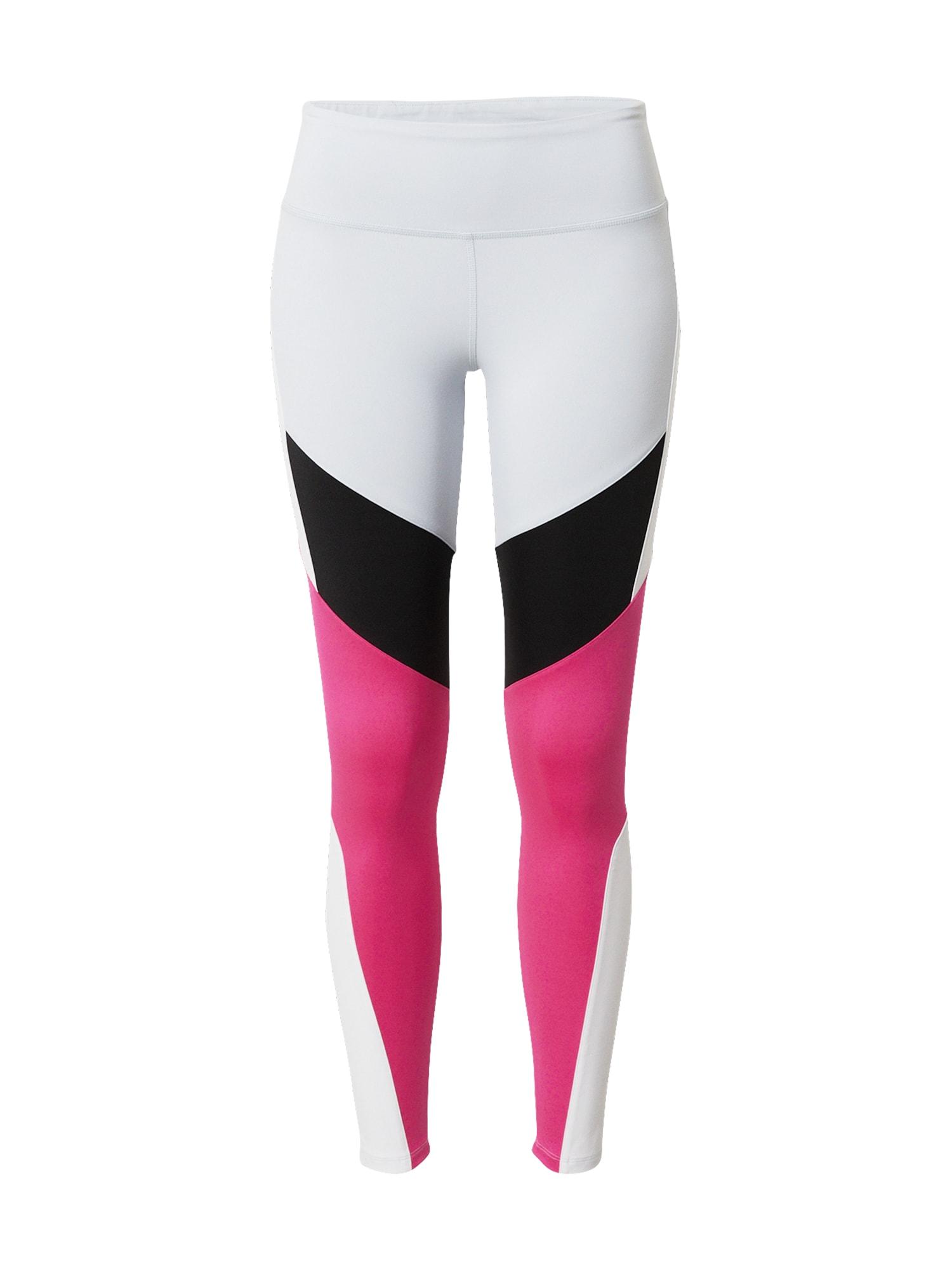 REEBOK Sportinės kelnės balta / rožinė / juoda