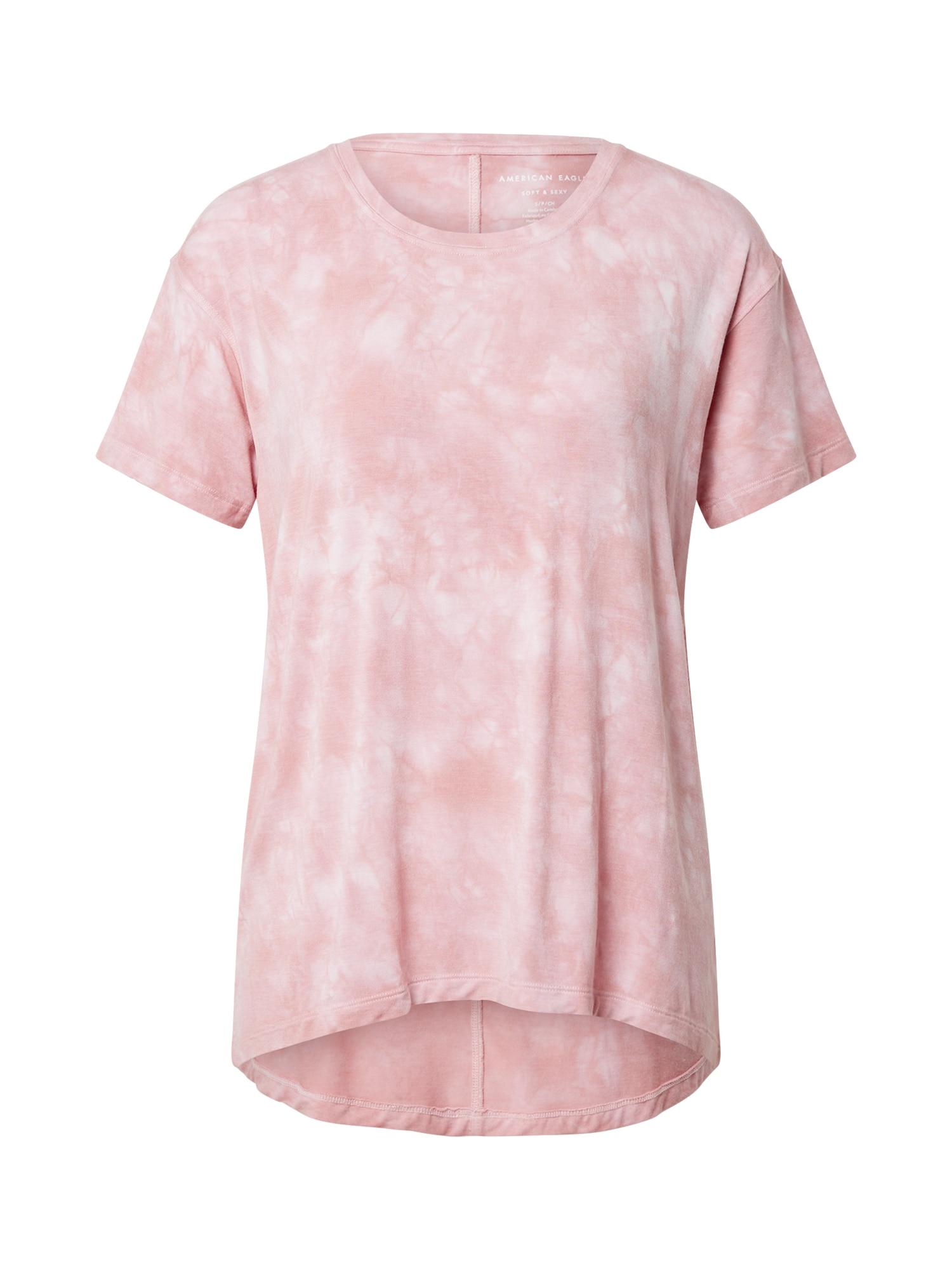 American Eagle Marškinėliai šviesiai rožinė / balta