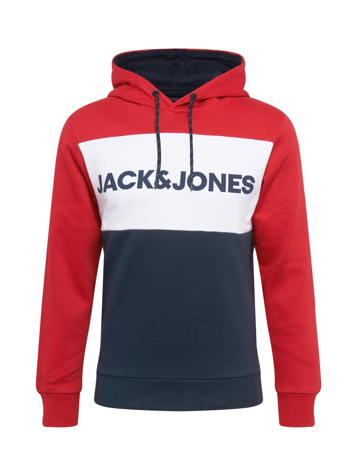 JACK & JONES Mikina  bílá / červená / noční modrá