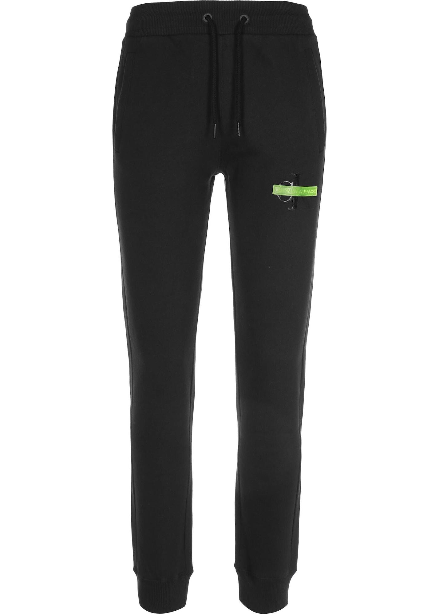 Calvin Klein Jeans Kelnės juoda / žaliosios citrinos spalva