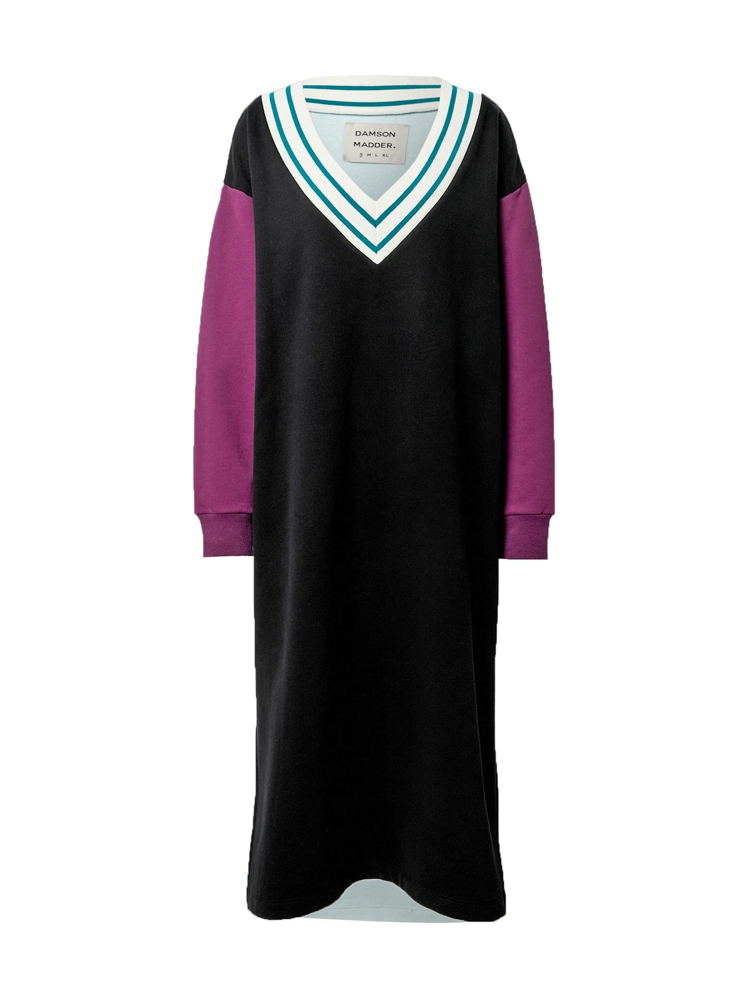 Damson Madder Suknelė juoda / balta / fuksijų spalva / benzino spalva