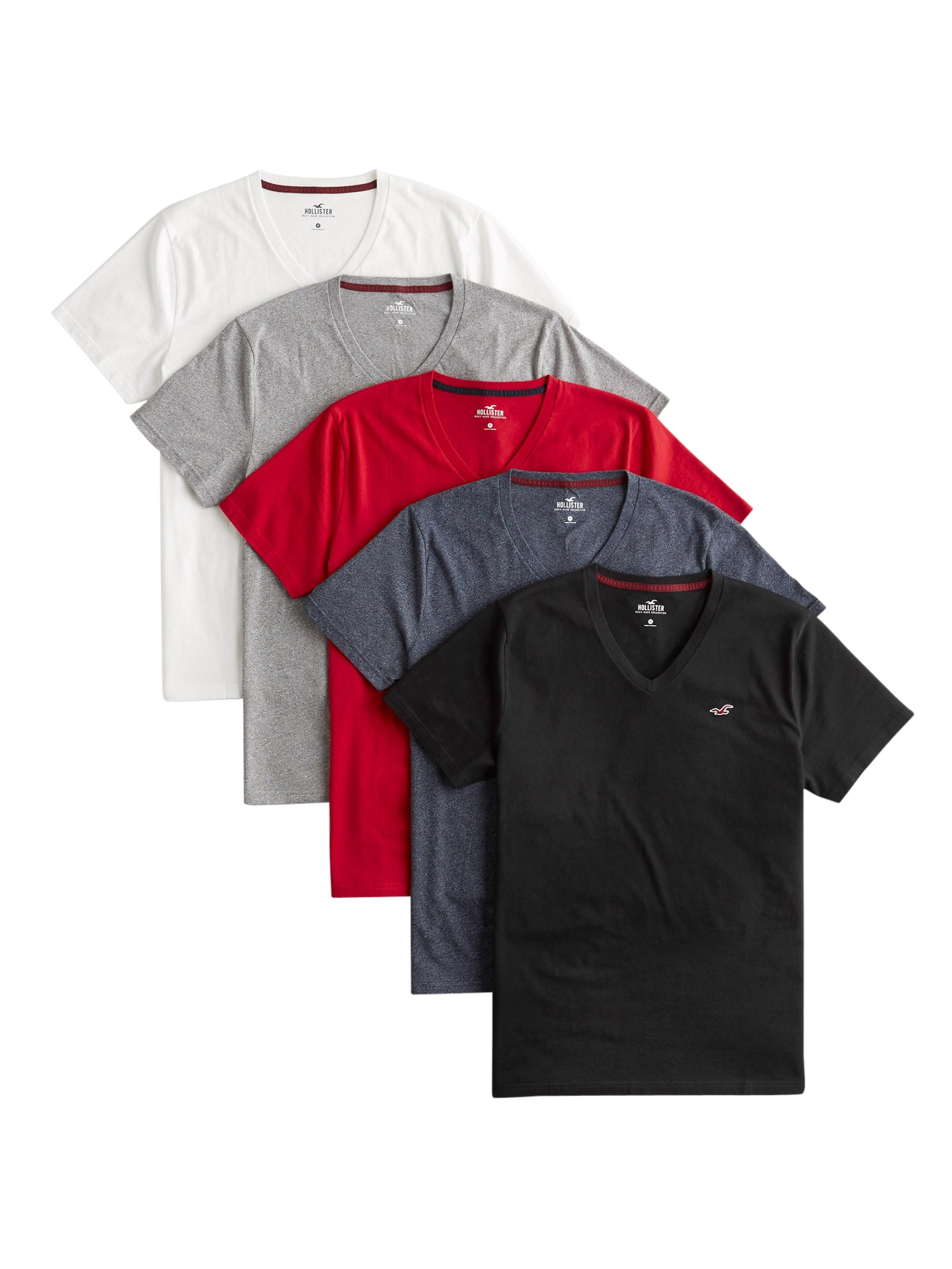 HOLLISTER Tričko  bílá / červená / šedá / modrá / černá