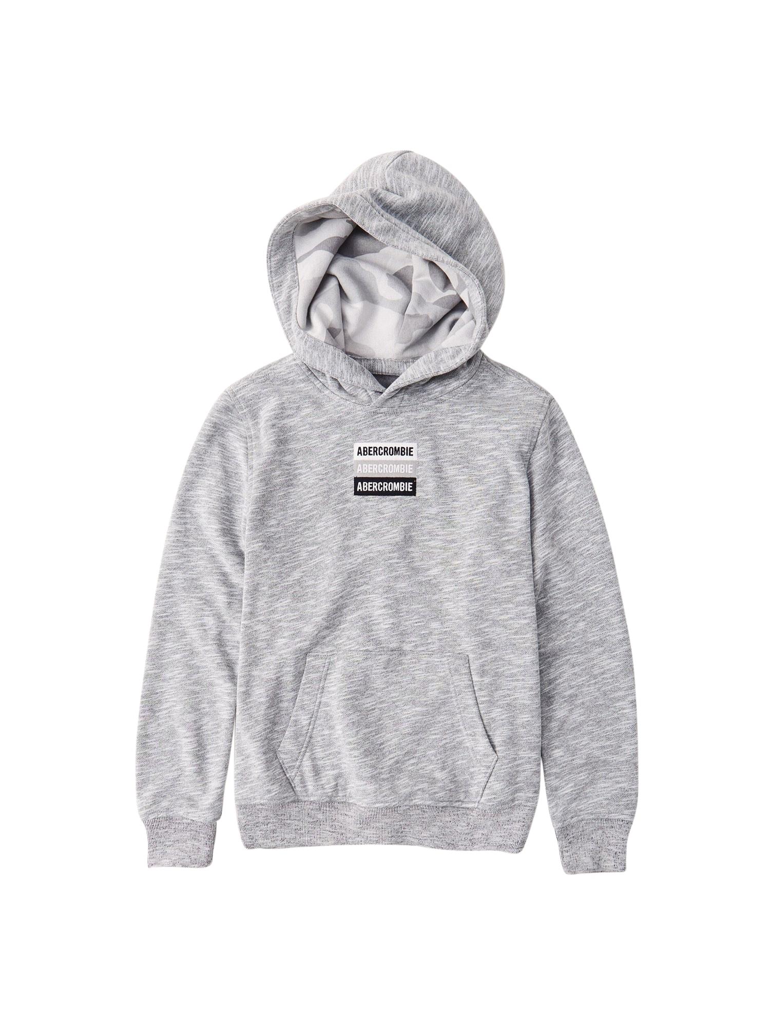 Abercrombie & Fitch Megztinis be užsegimo balta / juoda / margai pilka