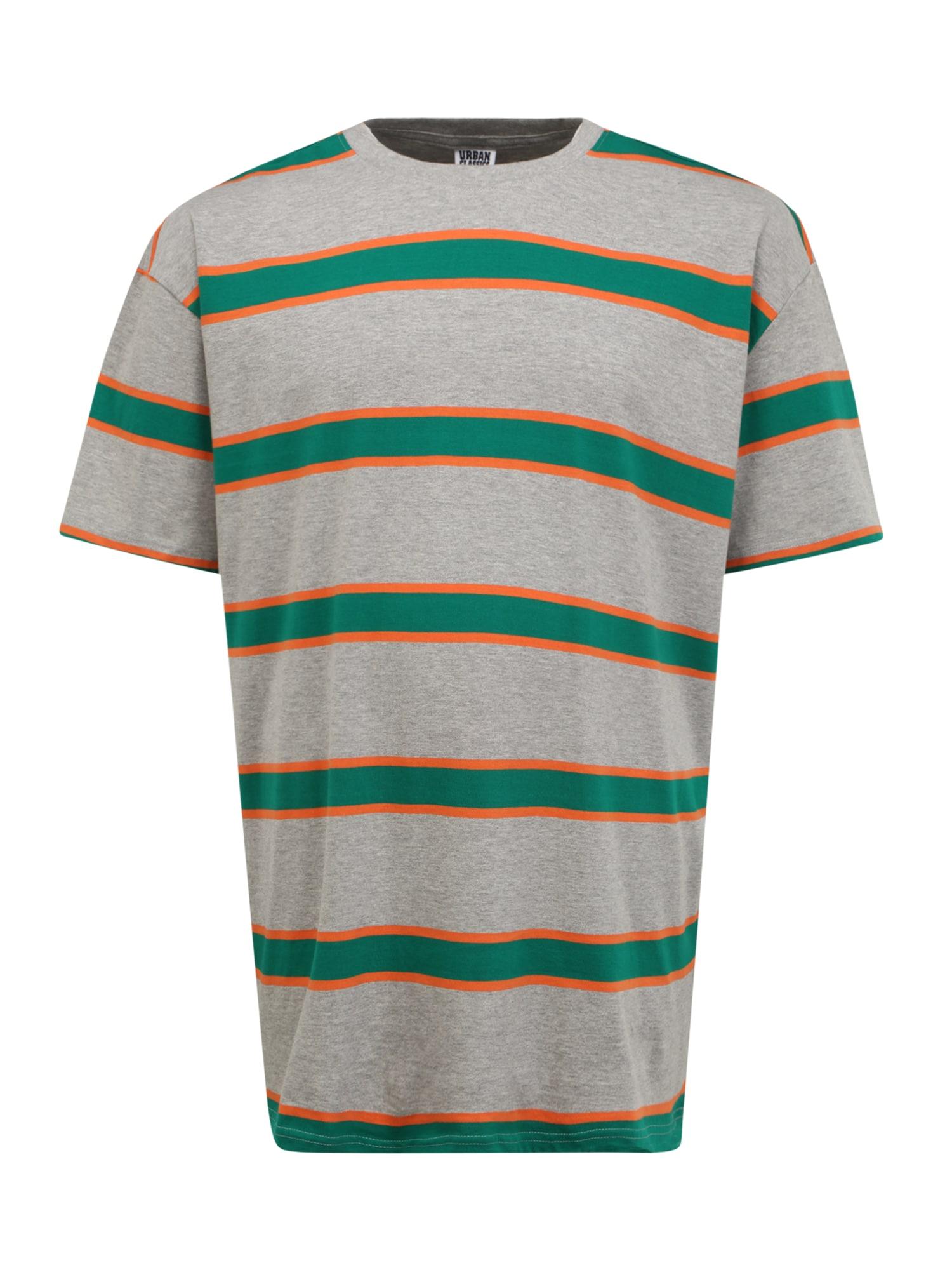 Urban Classics Plus Size Marškinėliai margai pilka / tamsiai oranžinė / žolės žalia