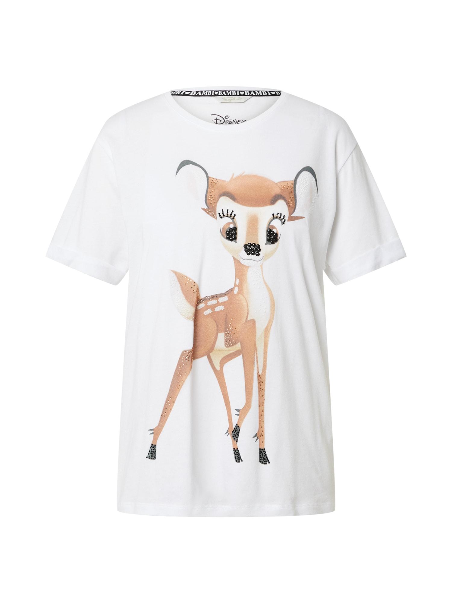 Frogbox Marškinėliai balta / ruda / juoda