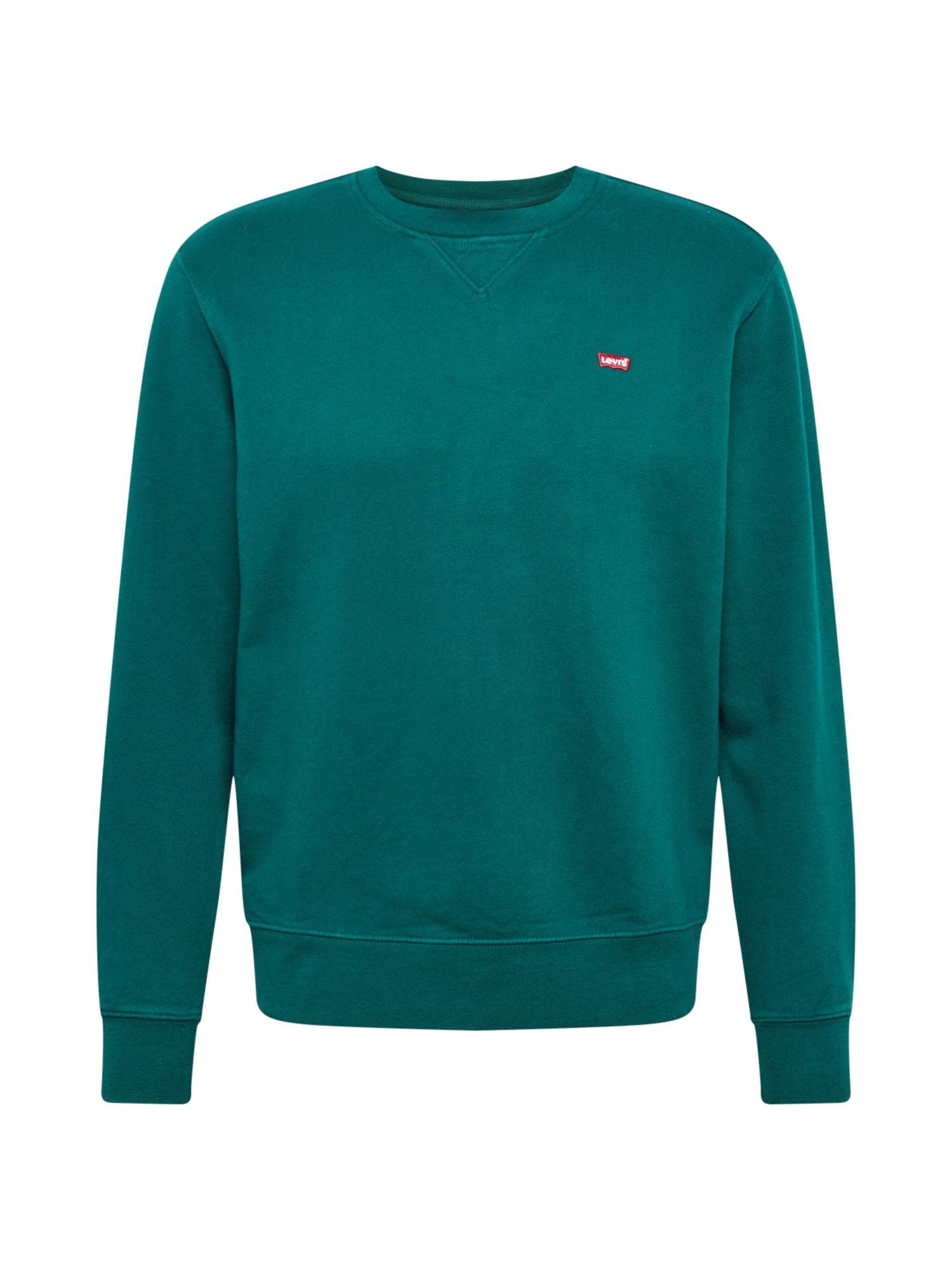 LEVI'S Mikina  tmavě zelená / bílá / červená