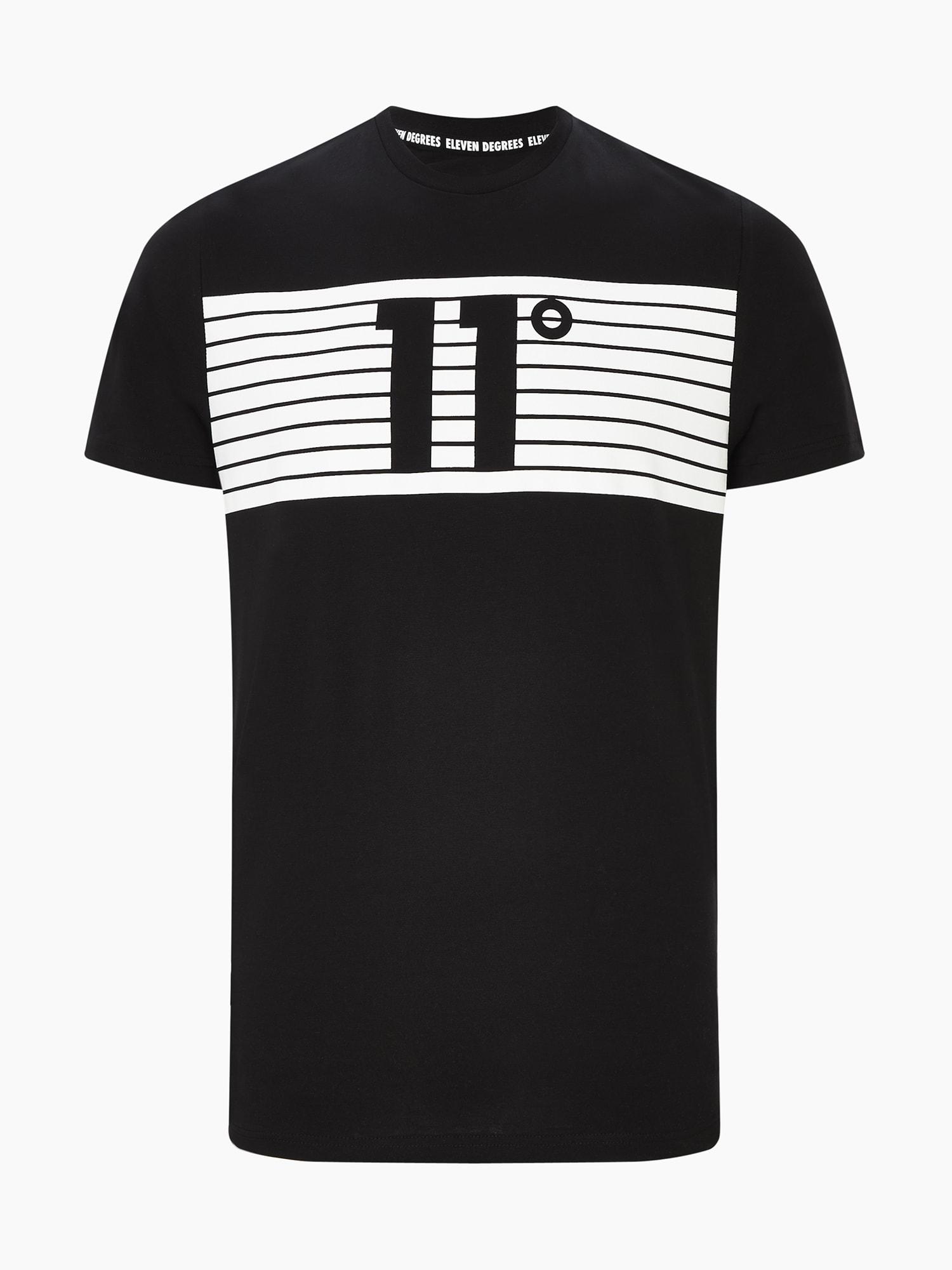 11 Degrees Marškinėliai 'PLACEMENT STRIPE' balta / juoda
