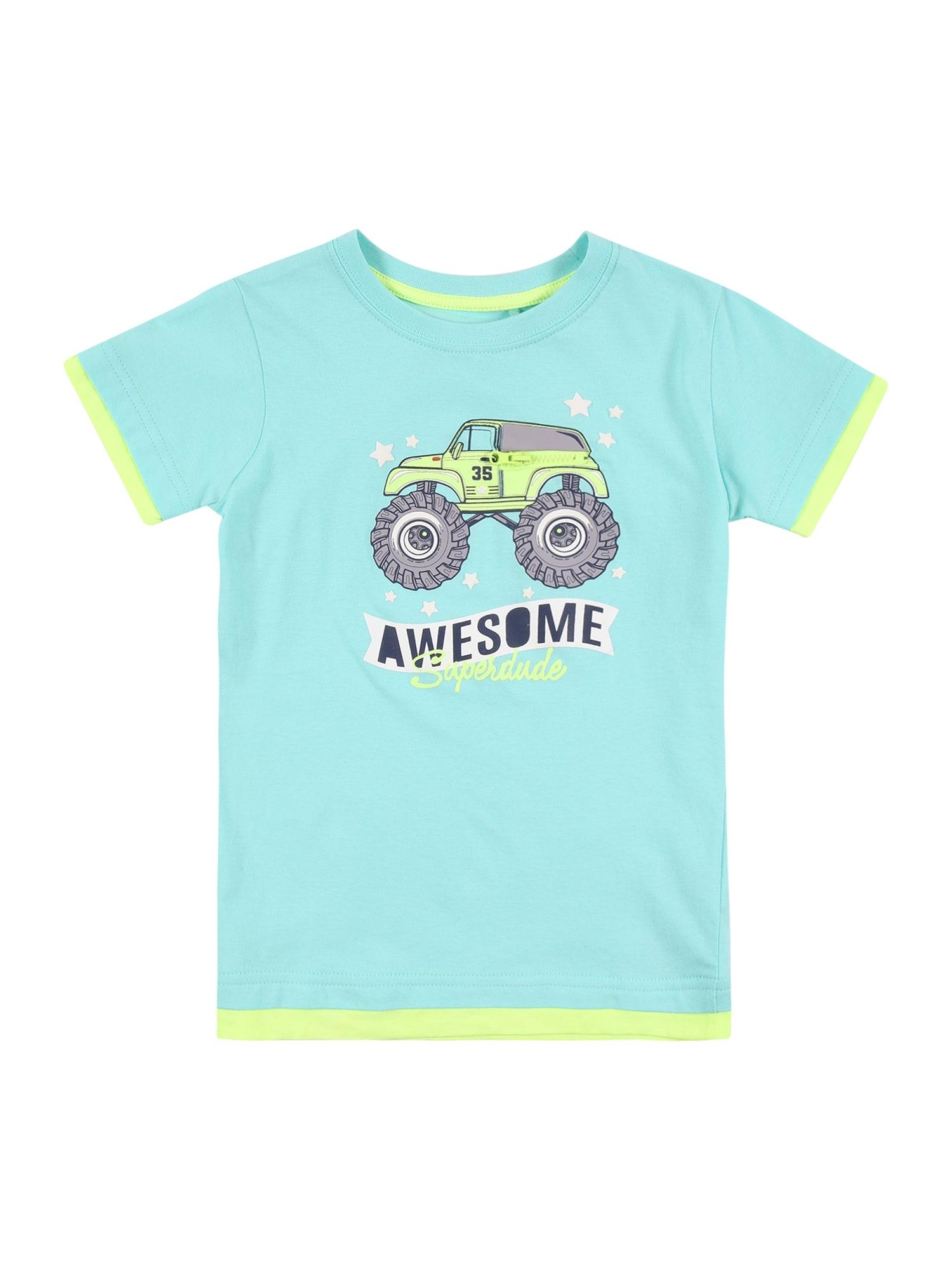 BLUE SEVEN Marškinėliai turkio spalva / neoninė geltona / pilka / tamsiai mėlyna