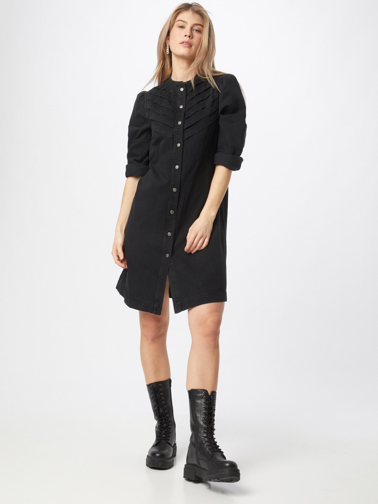Global Funk Košeľové šaty 'SONIA'  čierna.
