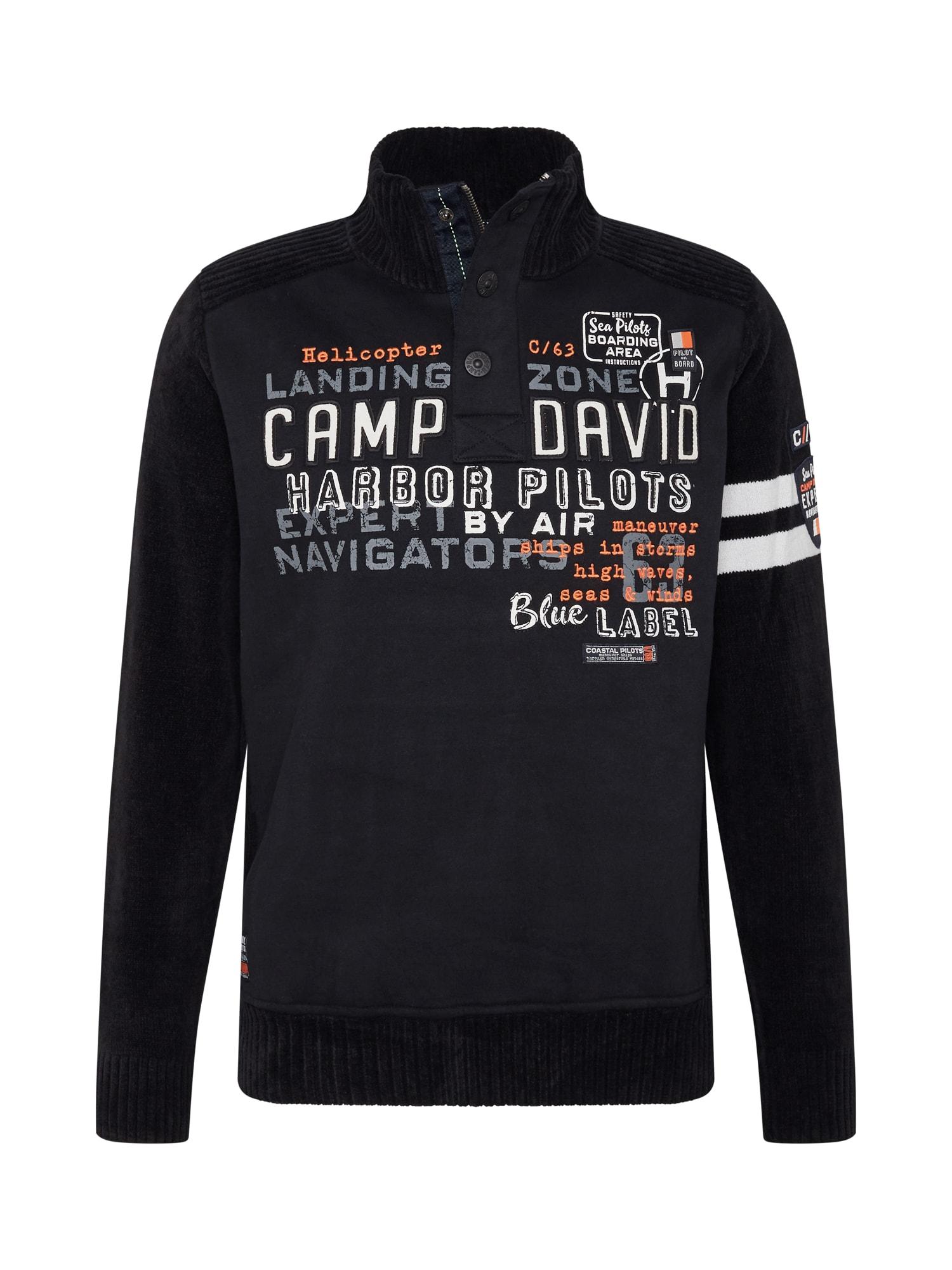 CAMP DAVID Megztinis juoda / balta / oranžinė / pilka