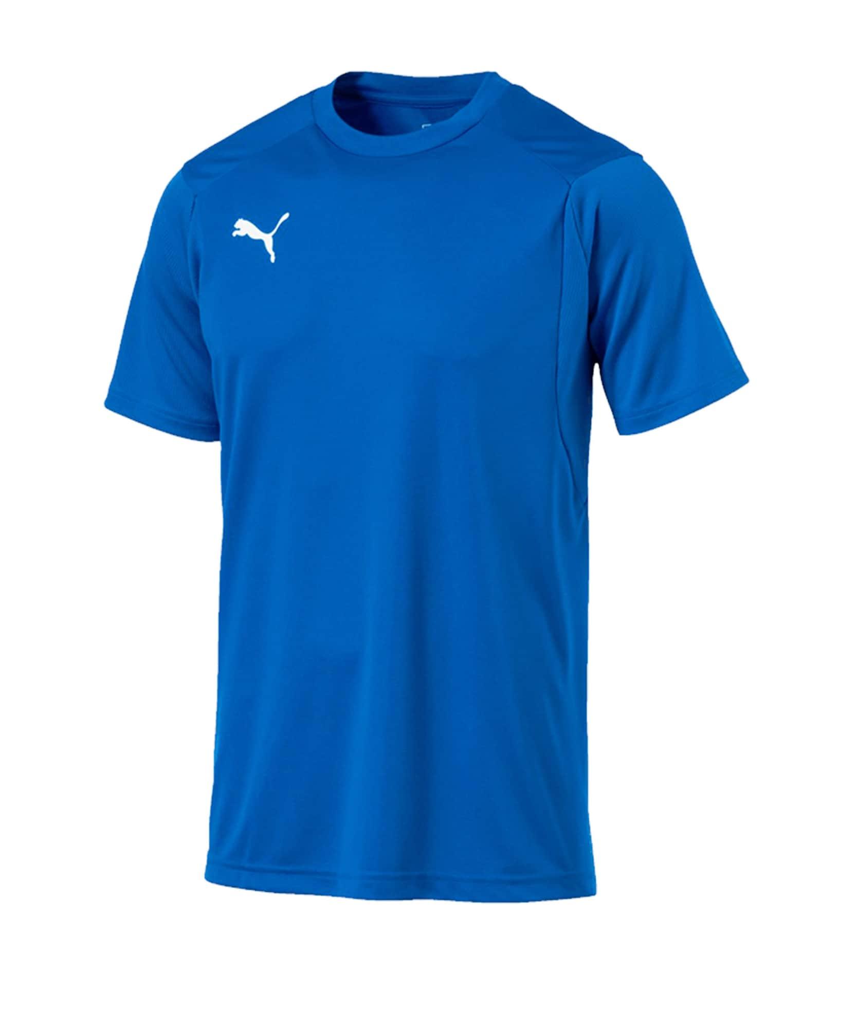 PUMA Sportiniai marškinėliai dangaus žydra / balta