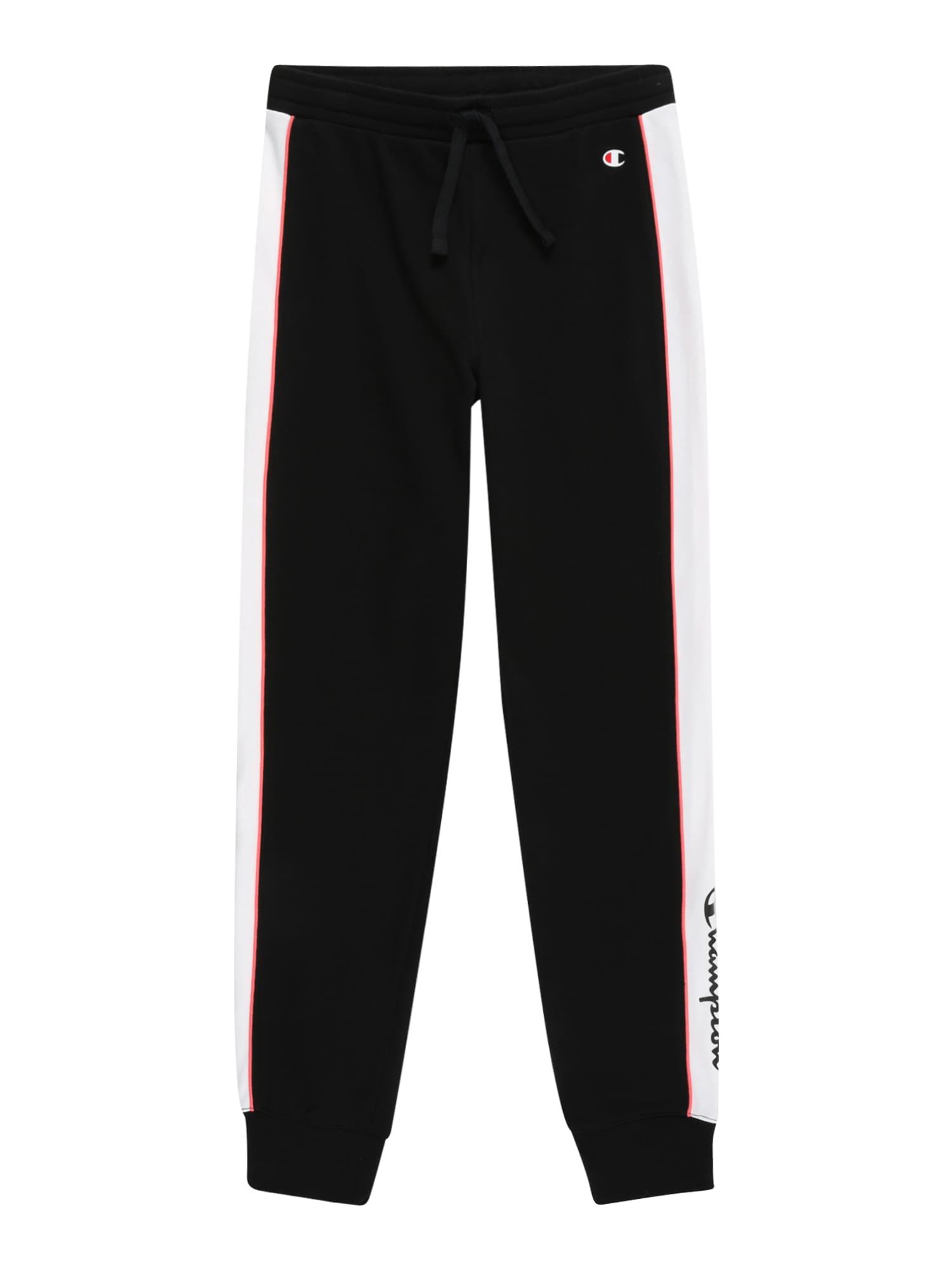 Champion Authentic Athletic Apparel Kelnės juoda / balta / ugnies raudona / koralų splava